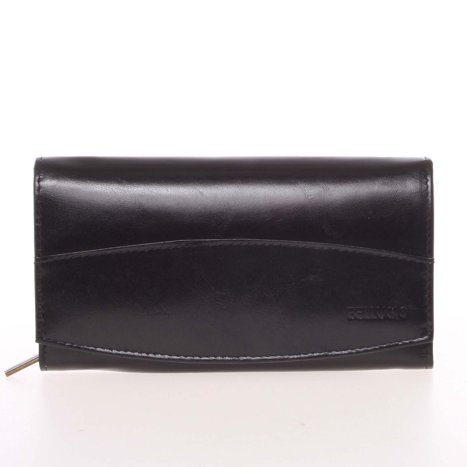 Veľká elegantná kožená peňaženka čierna - Bellugio Olimpia