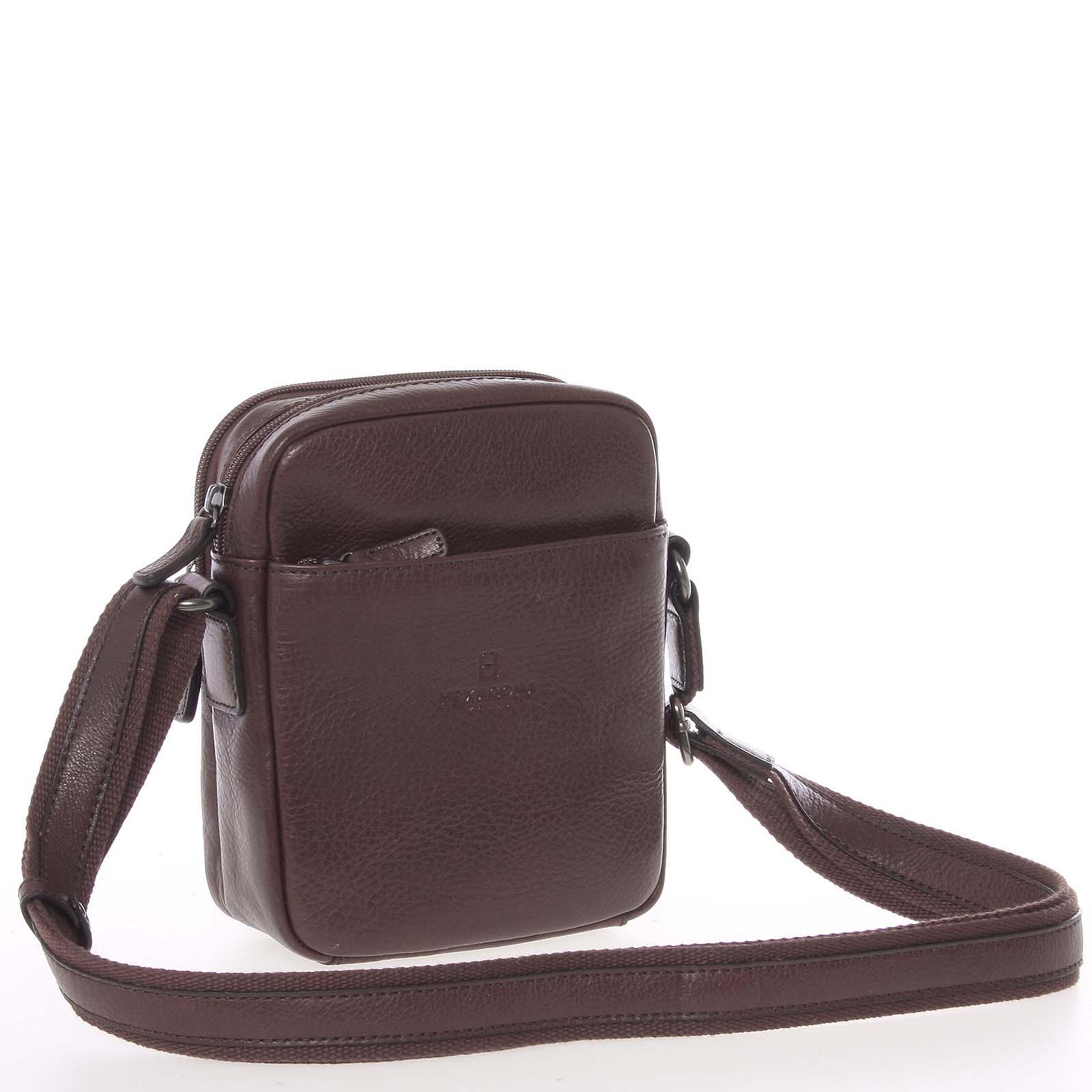 Hnedá luxusná kožená taška na doklady Hexagona 123477