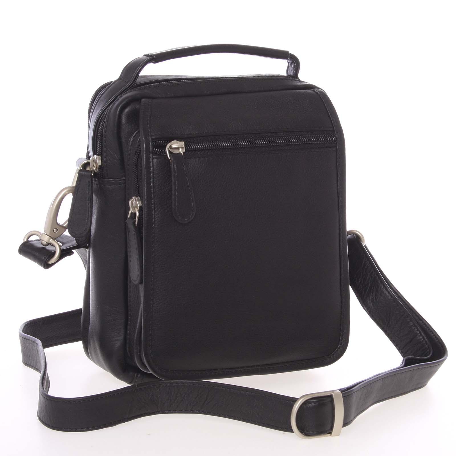 Čierna hladká kožená taška cez rameno SendiDesign Rico