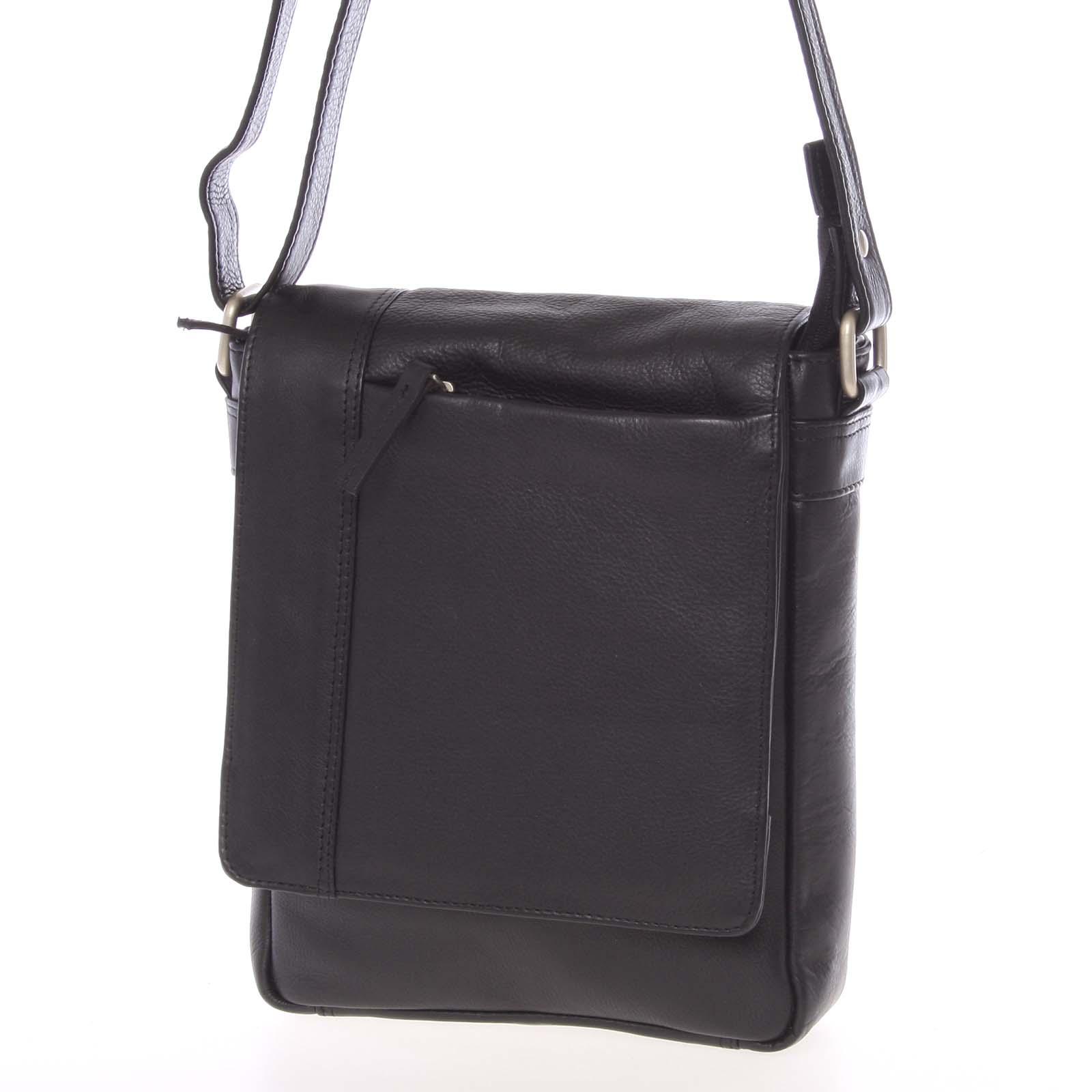 Čierna kožená taška cez plece Faraell