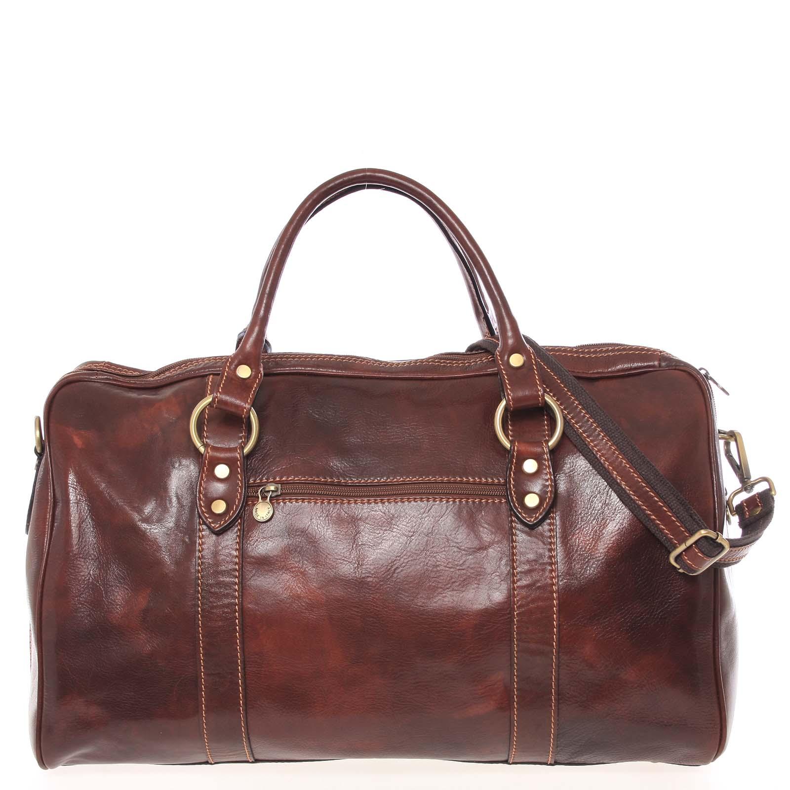 Veľká cestovná kožená taška hnedá - ItalY Equado