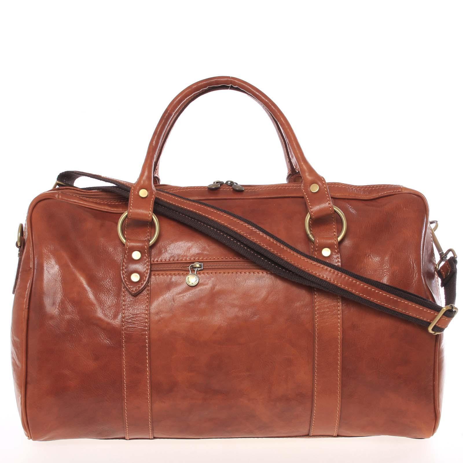 Veľká cestovná kožená taška svetlohnedá - ItalY Equado