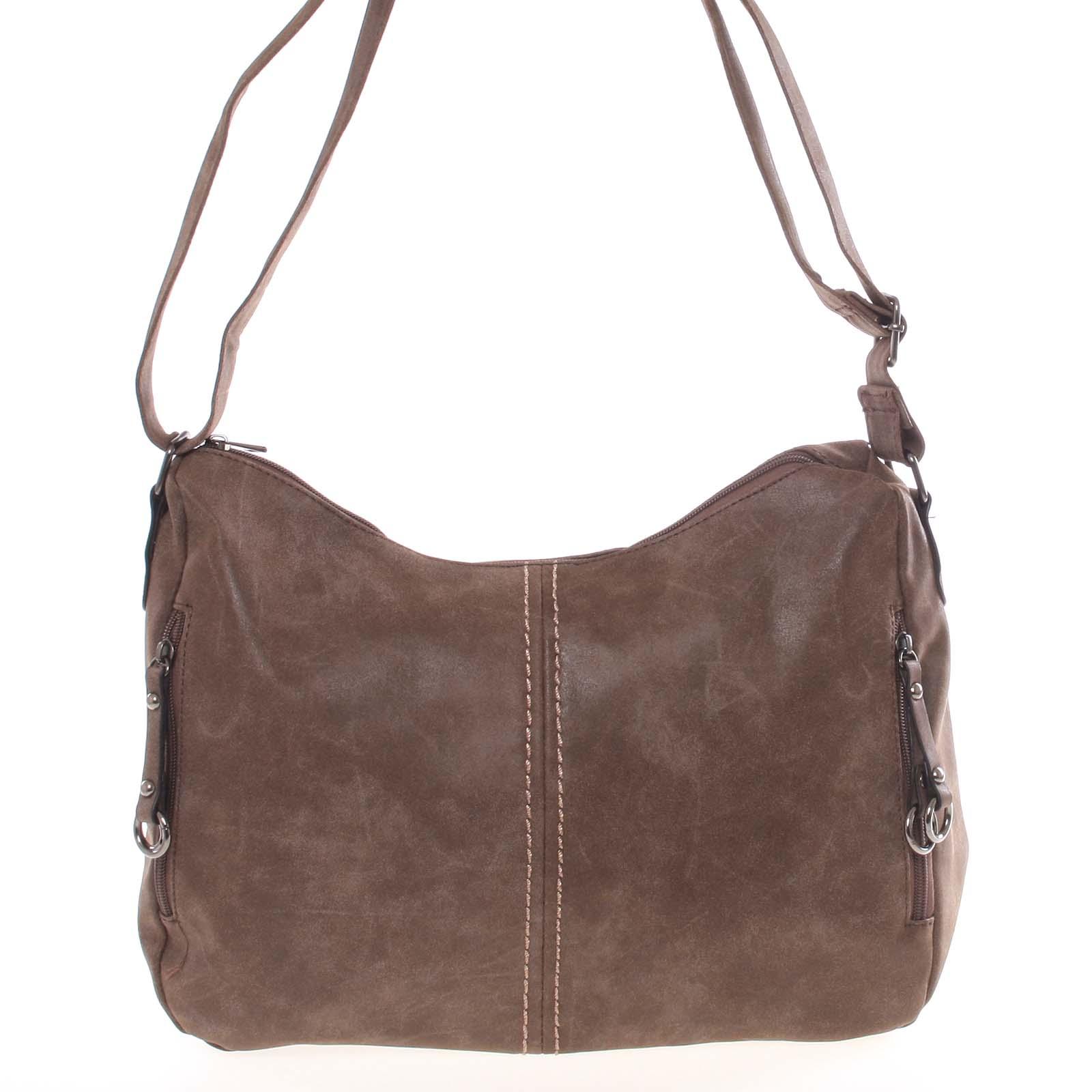 Väčšia dámska mäkká hnedá kabelka - Piace Molto Leontina