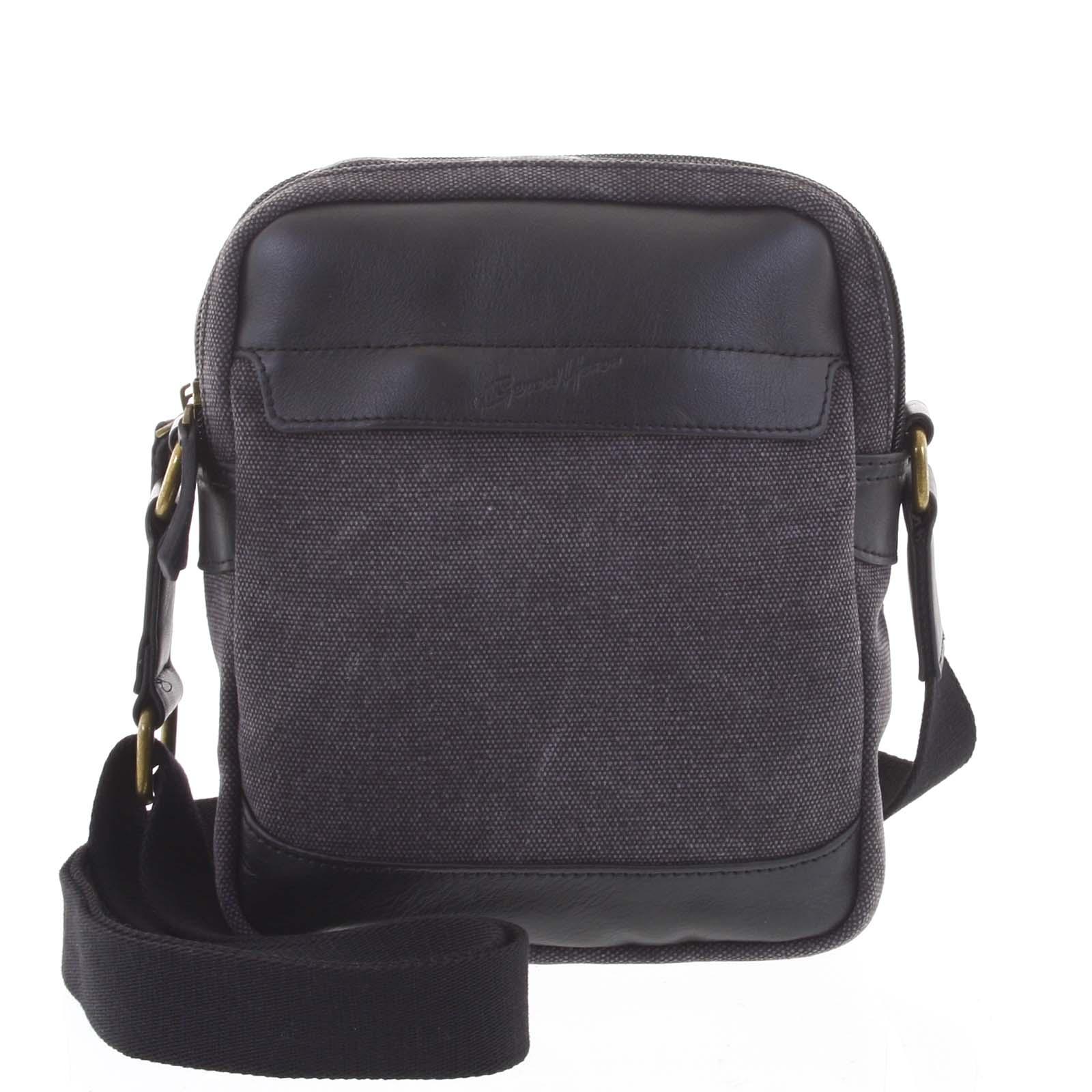 Štýlová dvojkomorová pánska taška na doklady čierna - Gerard Henon Percy