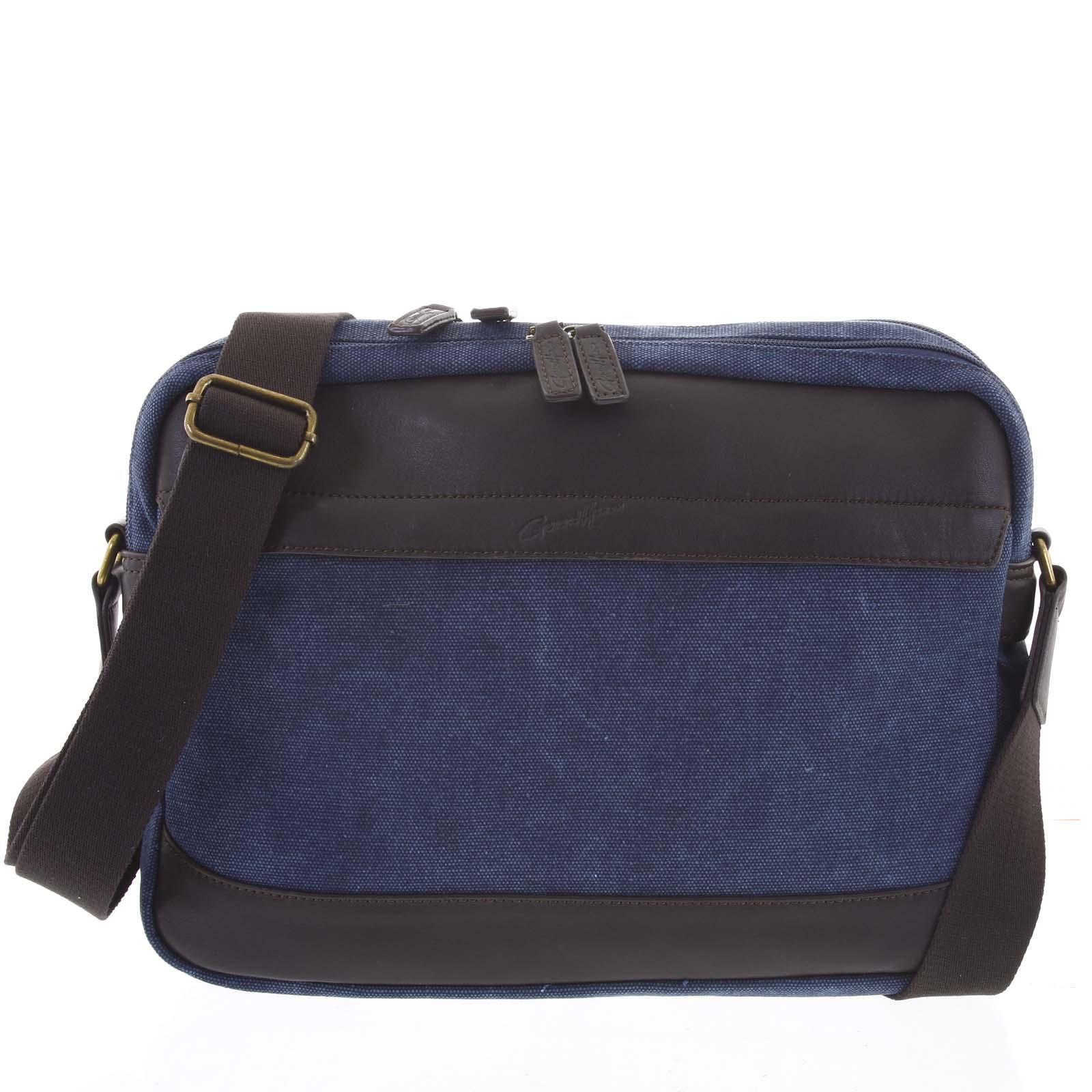 Moderná pánska taška s koženými detailmi modrá - Gerard Henon Telfor