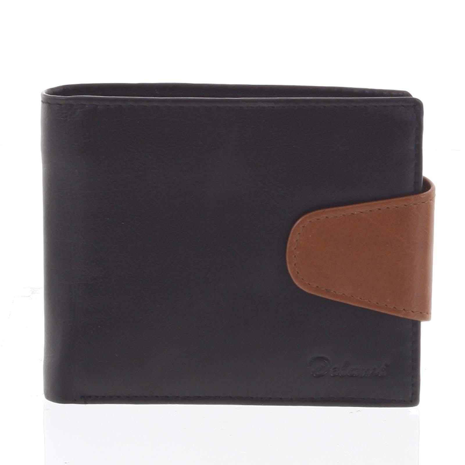 Pánska kožená peňaženka čierno-hnedá - Delami 11816
