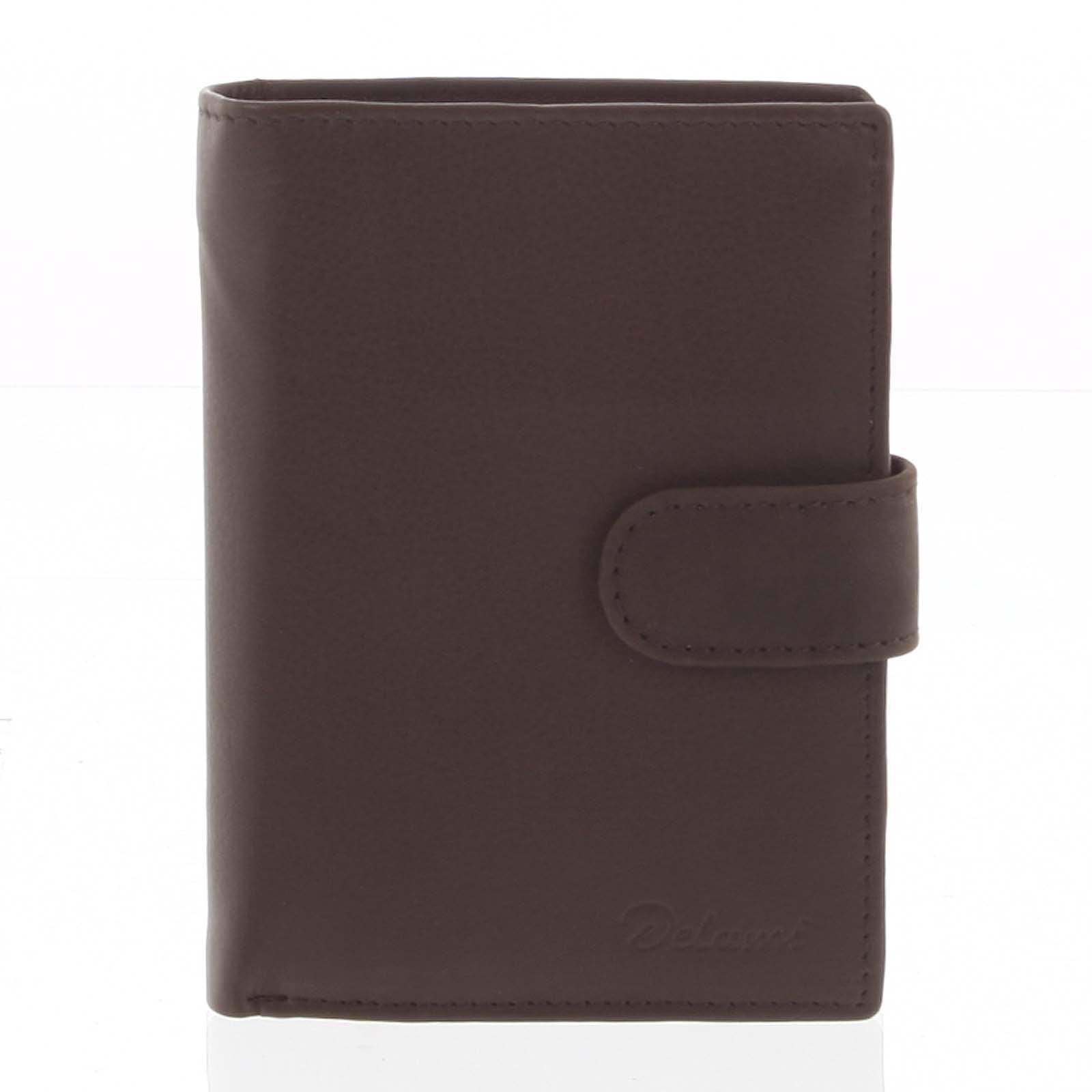 Pánska kožená hnedá peňaženka - Delami 8703