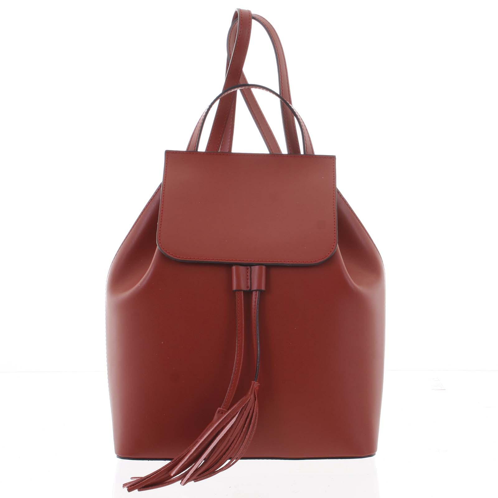Luxusný dámsky ruksak tmavočervený kožený - ItalY Adelpha