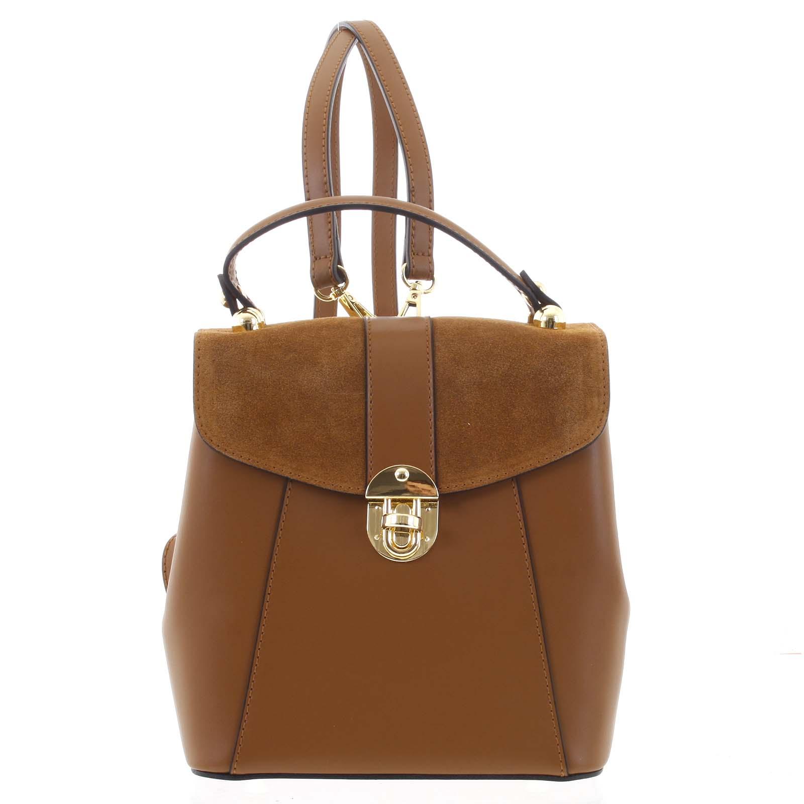 Dámsky originálny kožený hnedý batôžtek/kabelka - ItalY Acnes