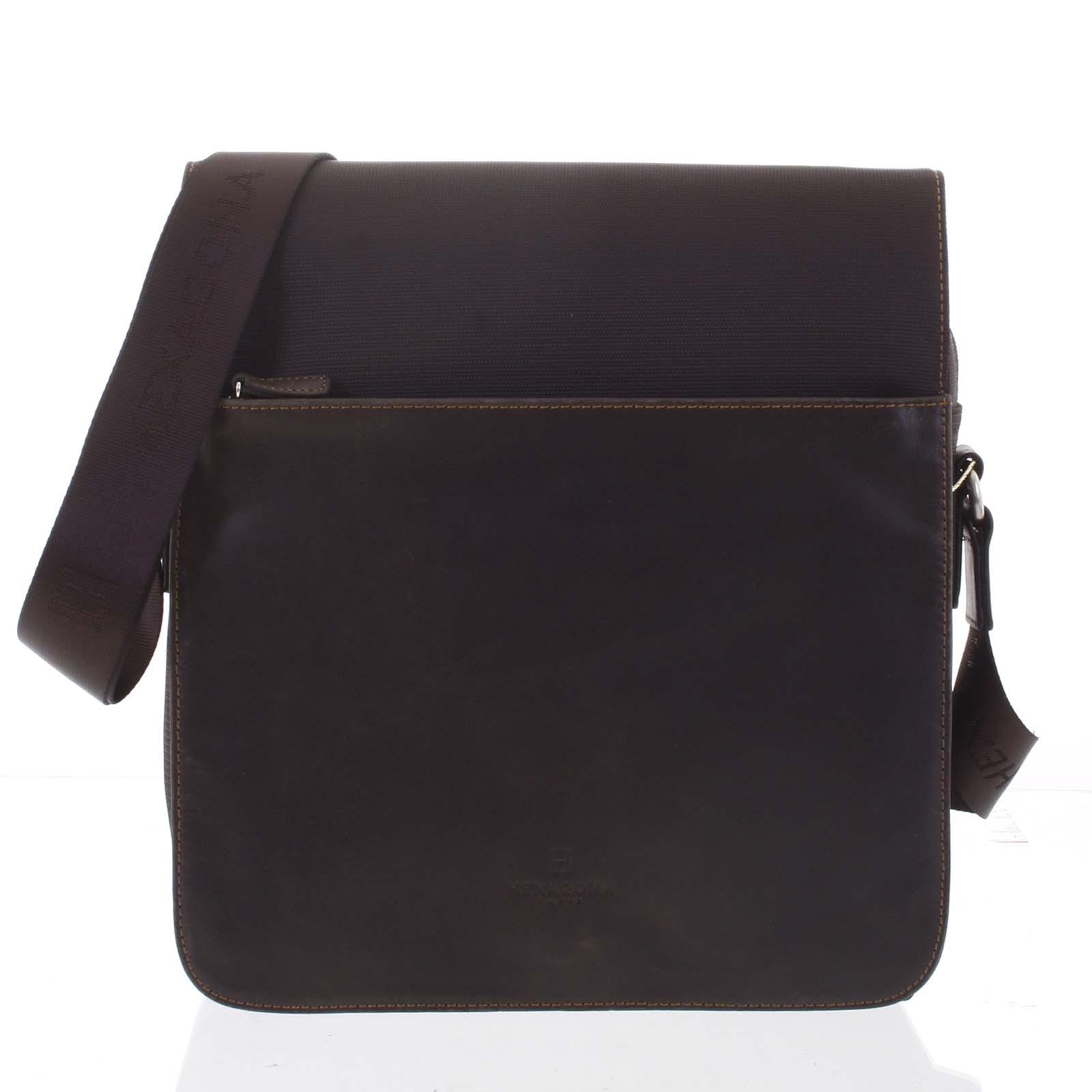 Moderná polokožená taška hnedá - Hexagona Cendrik