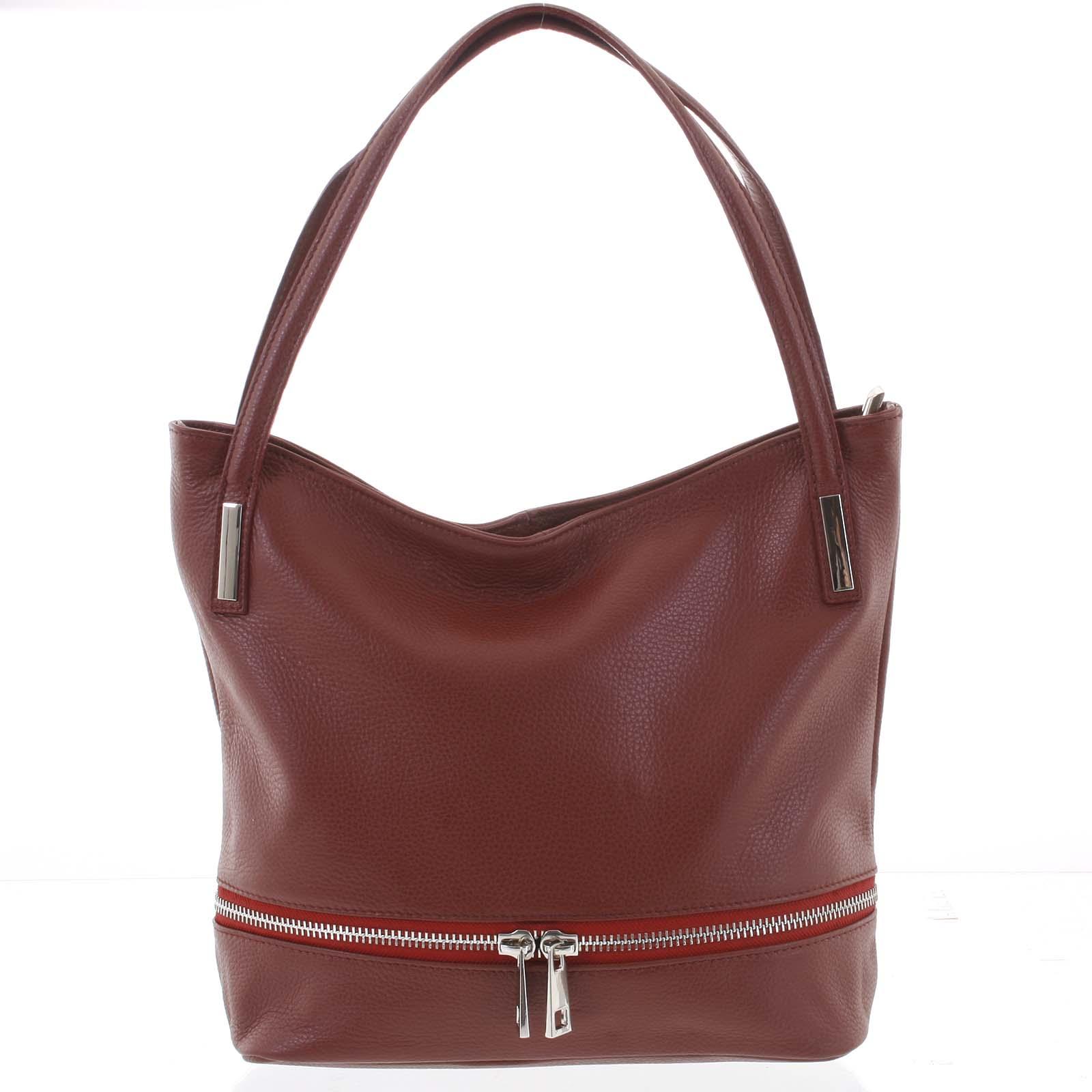Dámska štýlová kožená kabelka cez plece vínová - ItalY Acness