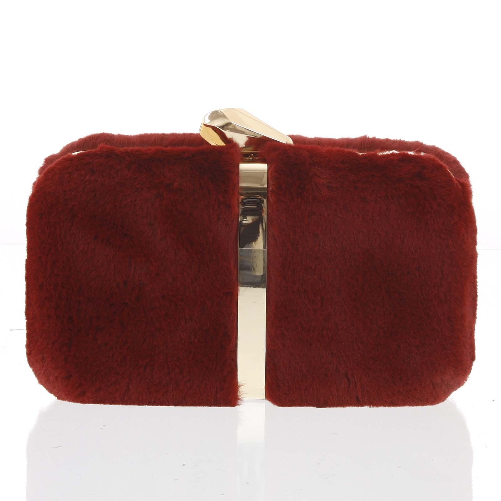 Originálna dámska plyšová listová kabelka v červenej farbe - Delami