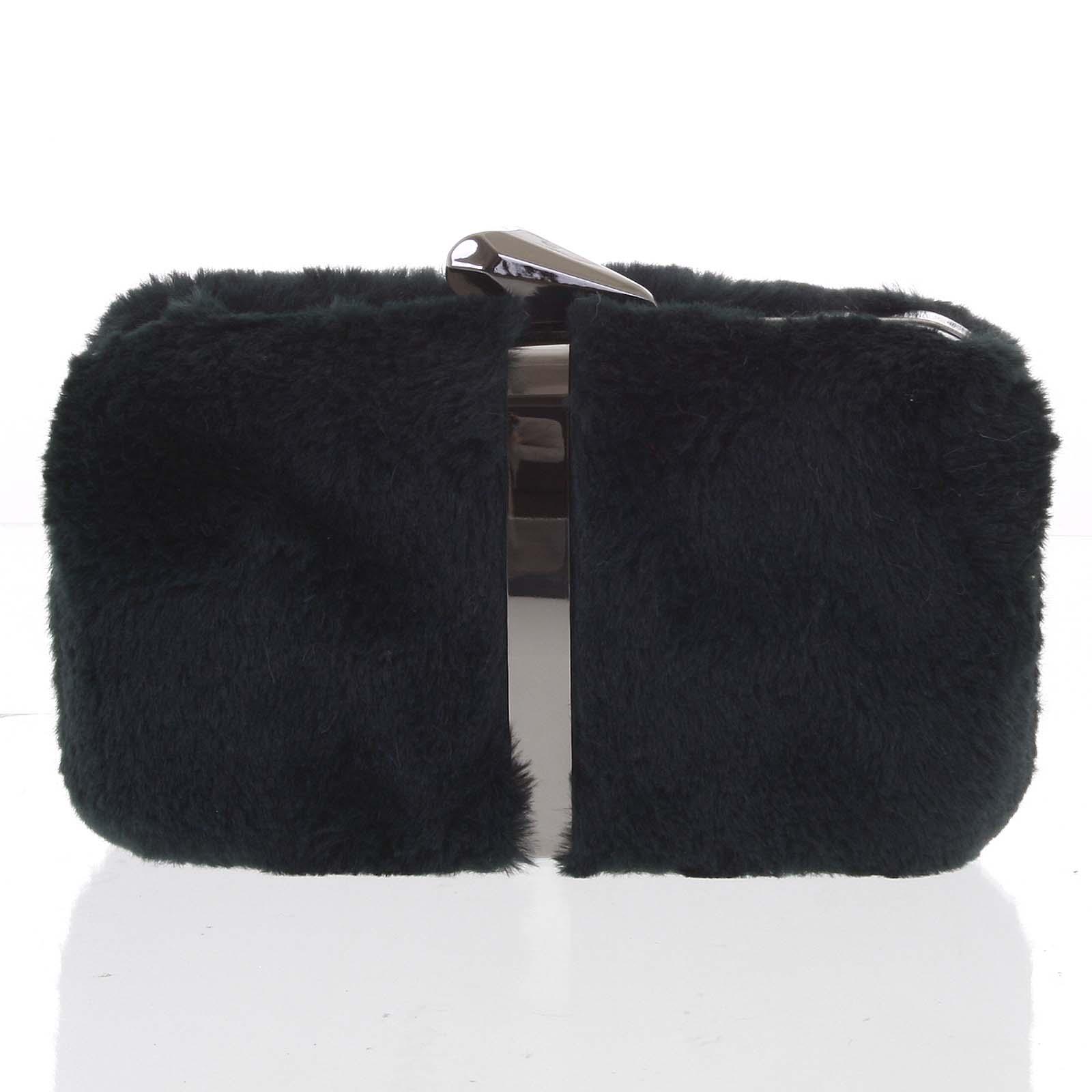 Originálna dámska tmavozelená plyšová listová kabelka - Delami