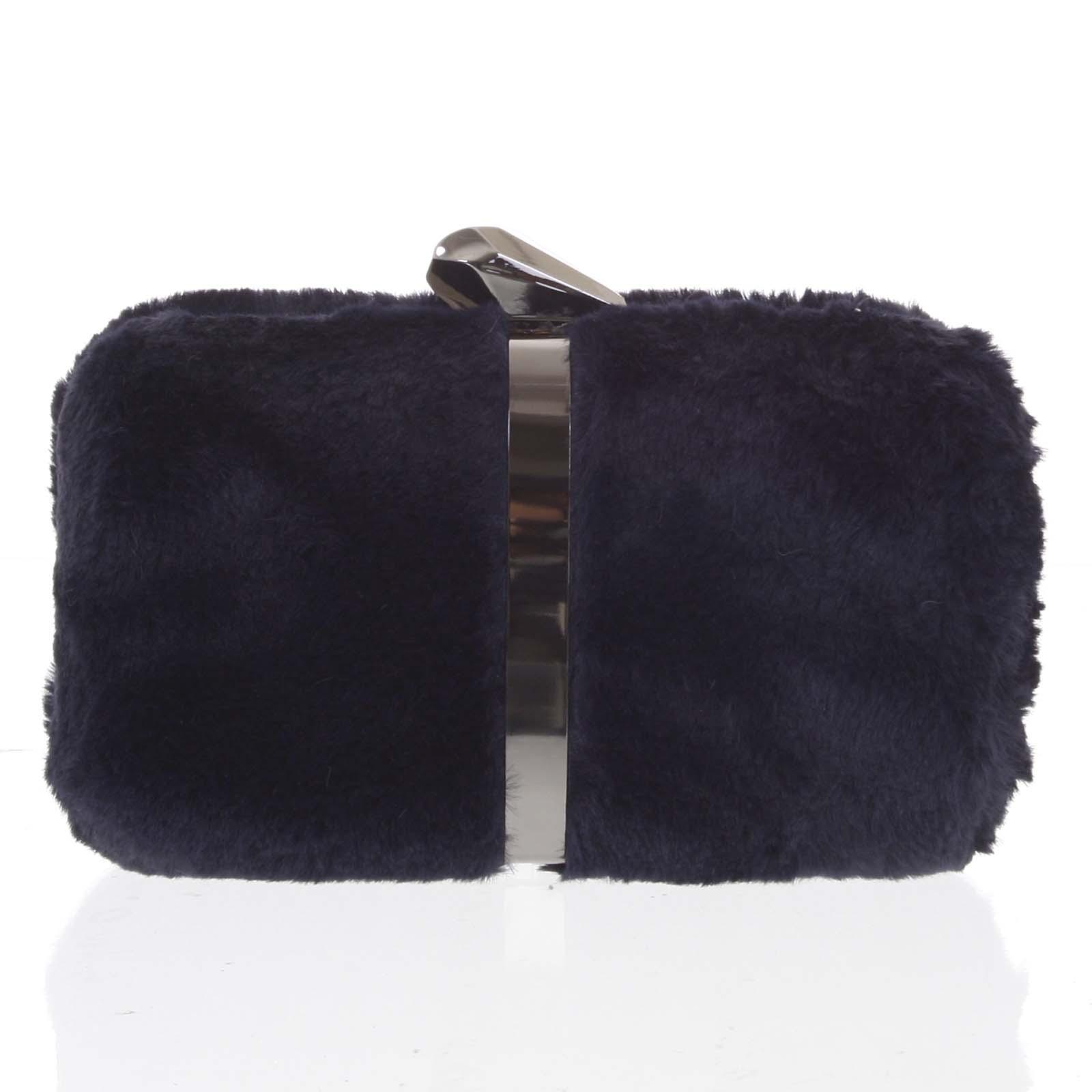 Originálna dámska tmavomodrá plyšová listová kabelka - Delami
