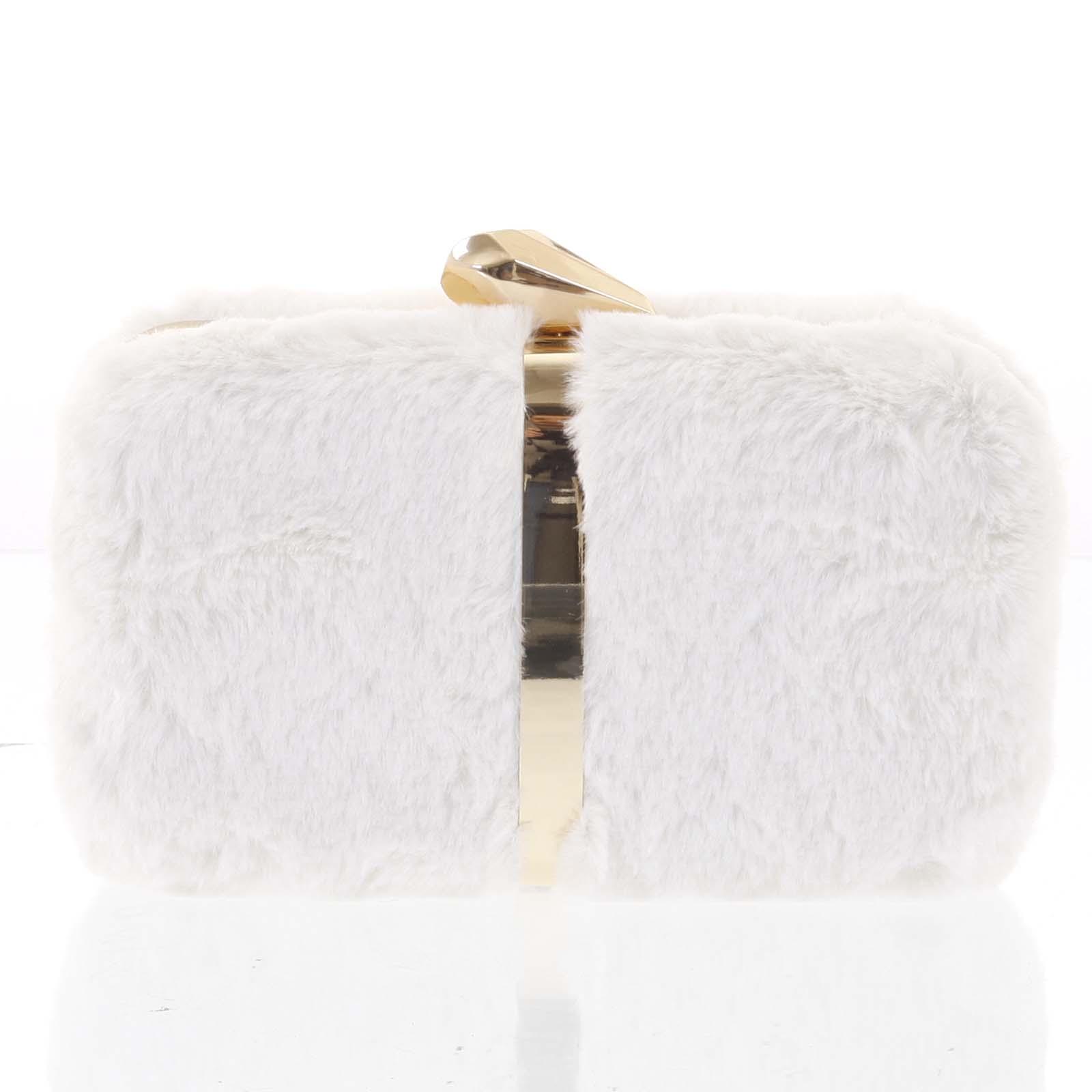 Originálna dámska plyšová listová kabelka v krémovobielej farbe - Delami