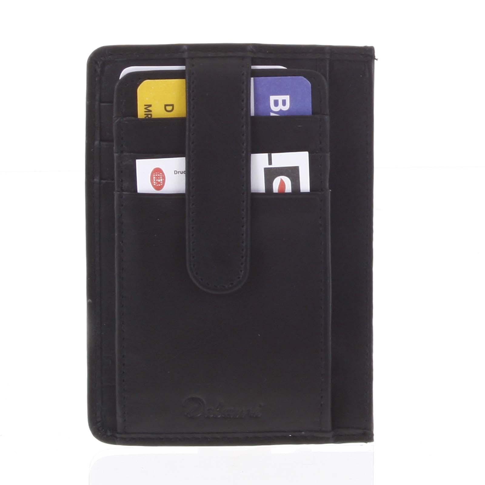 Jednoduchá čierna kožená peňaženka do vrecka - Delami 9393