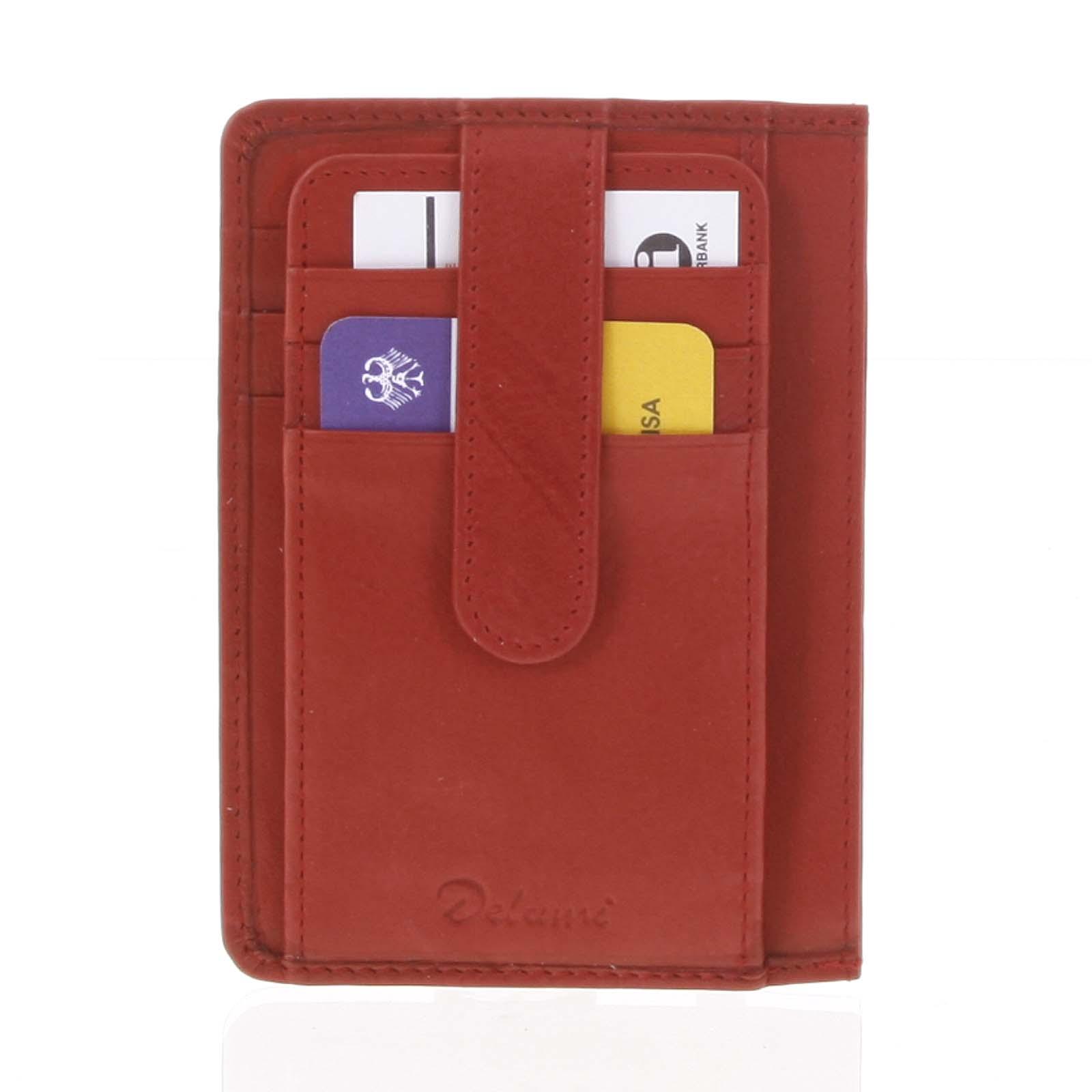 Jednoduchá červená kožená peňaženka do vrecka - Delami 9393