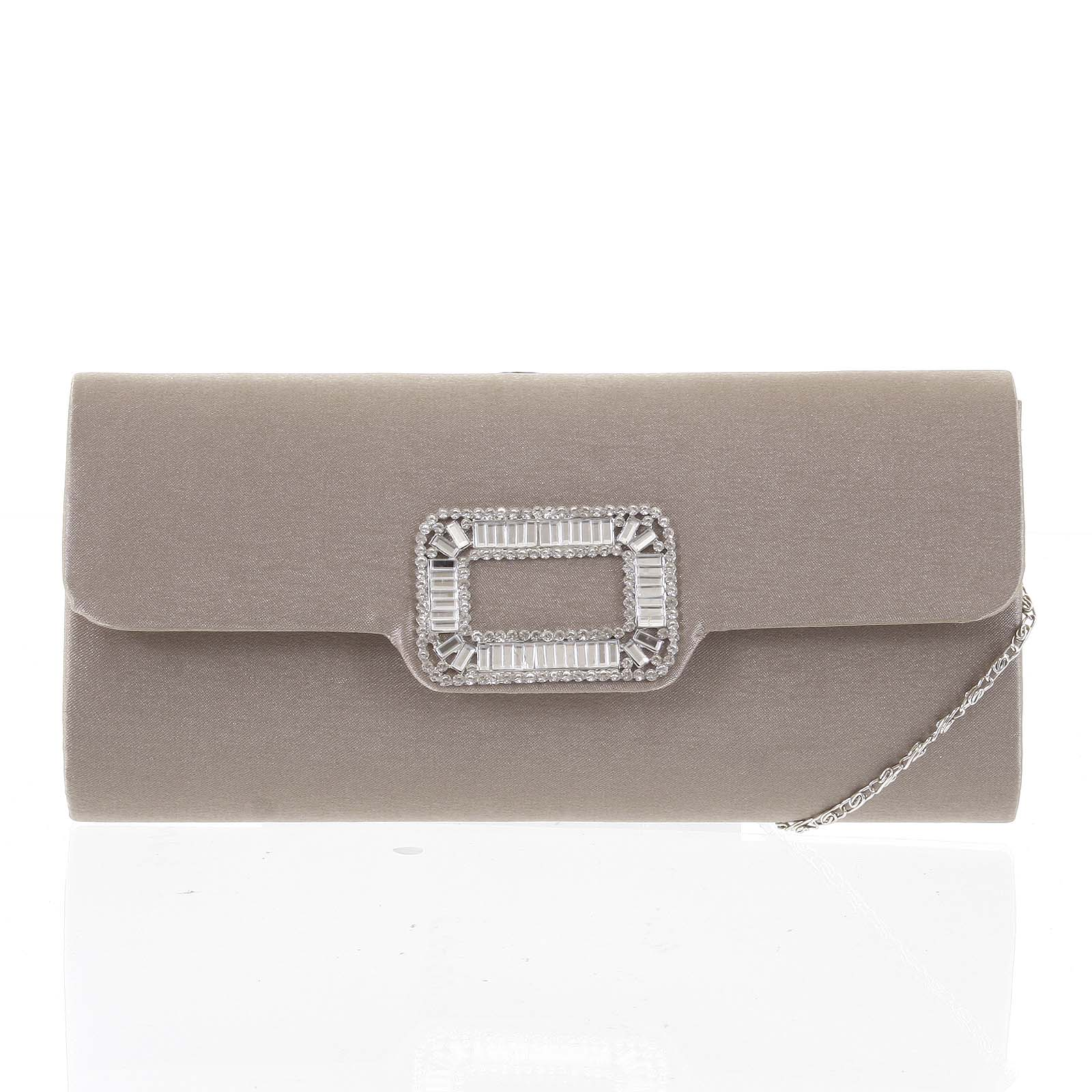 Stredná saténová listová kabelka khaki - Delami Santen