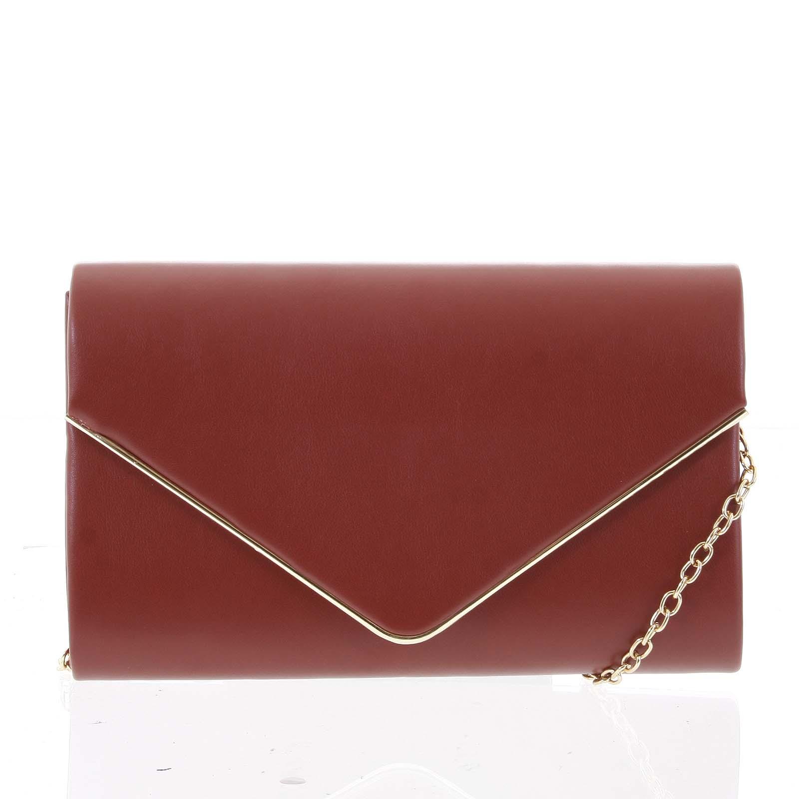 Štýlová tmavočervená hladká listová kabelka - Delami H456