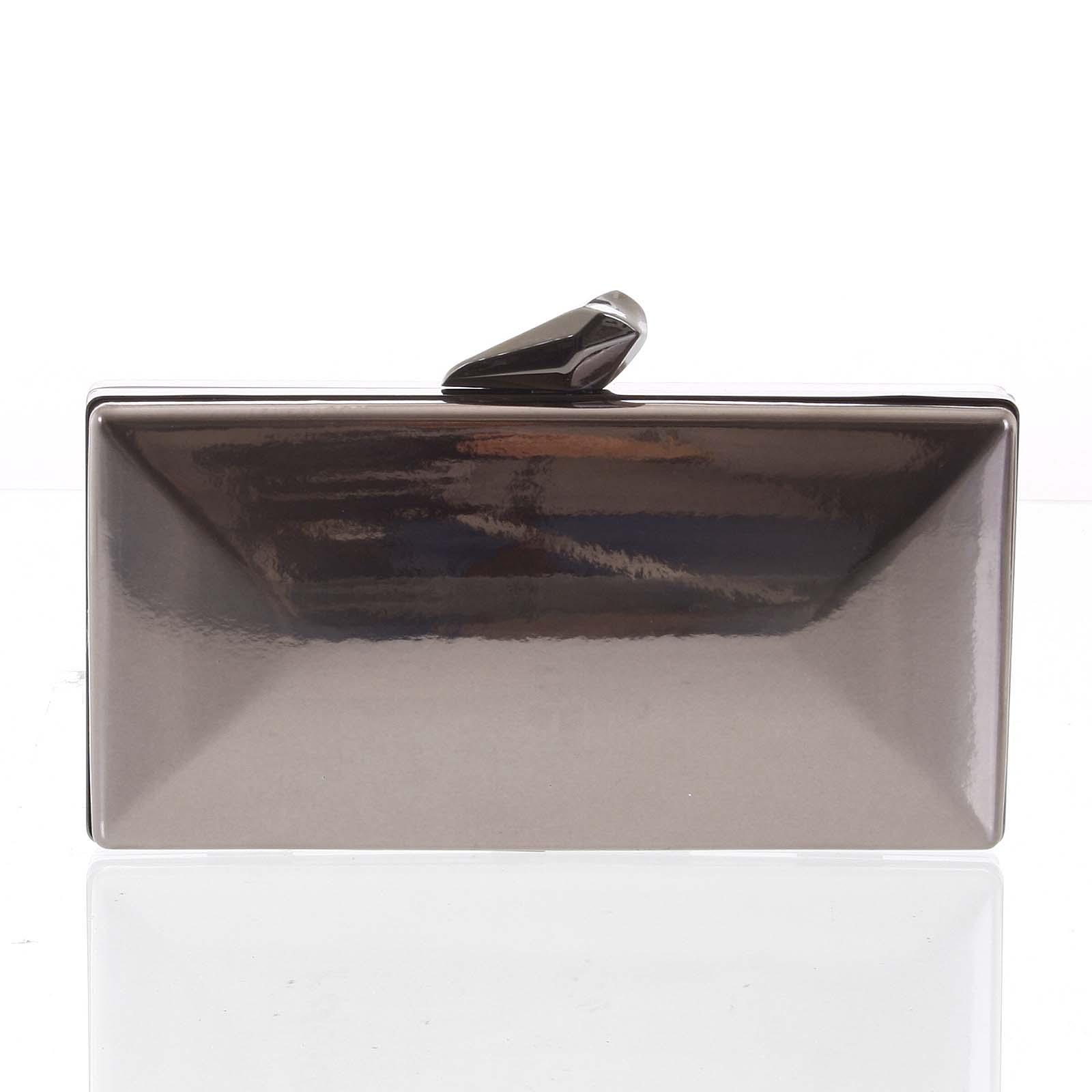 Luxusná lakovaná dámska sivá listová kabelka - Delami Presha