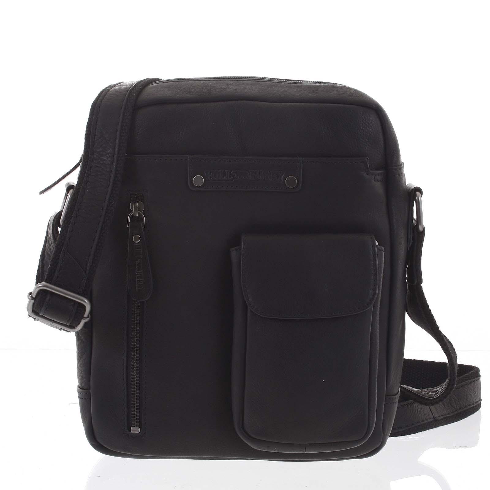Väčšia luxusná pánska kožená taška čierna - Hill Burry Mandrew