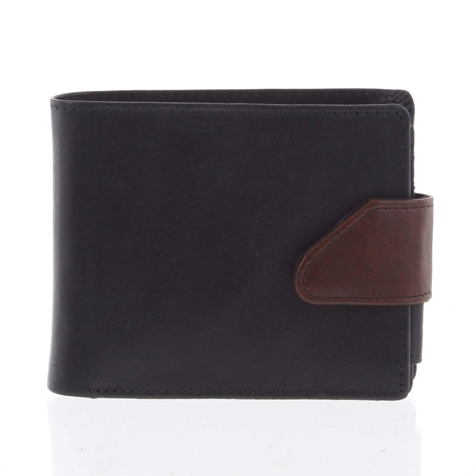 Hladká pánska čierna kožená peňaženka - Tomas 76VT