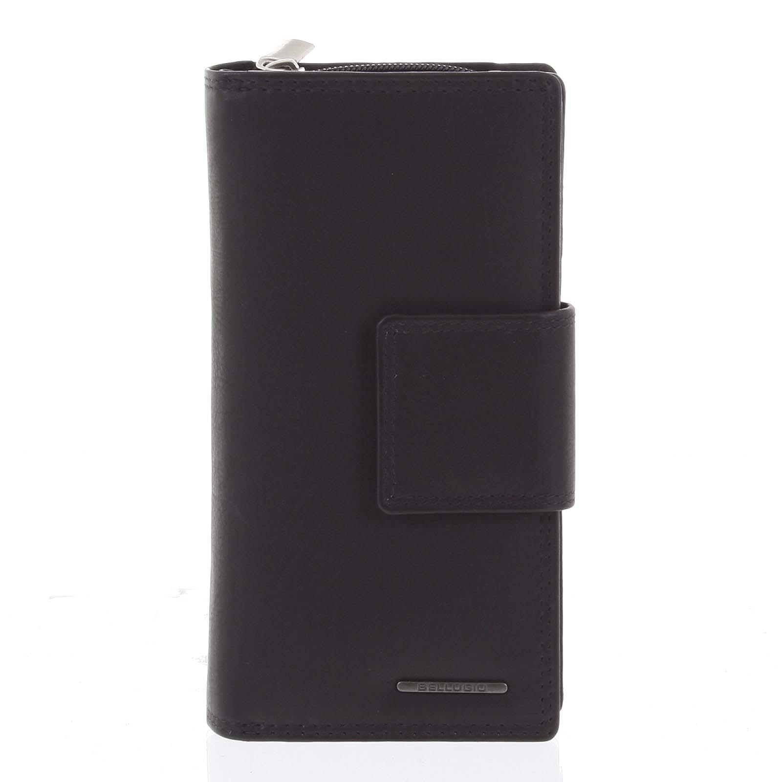 Veľká dámska kožená peňaženka čierna - Bellugio Glykys