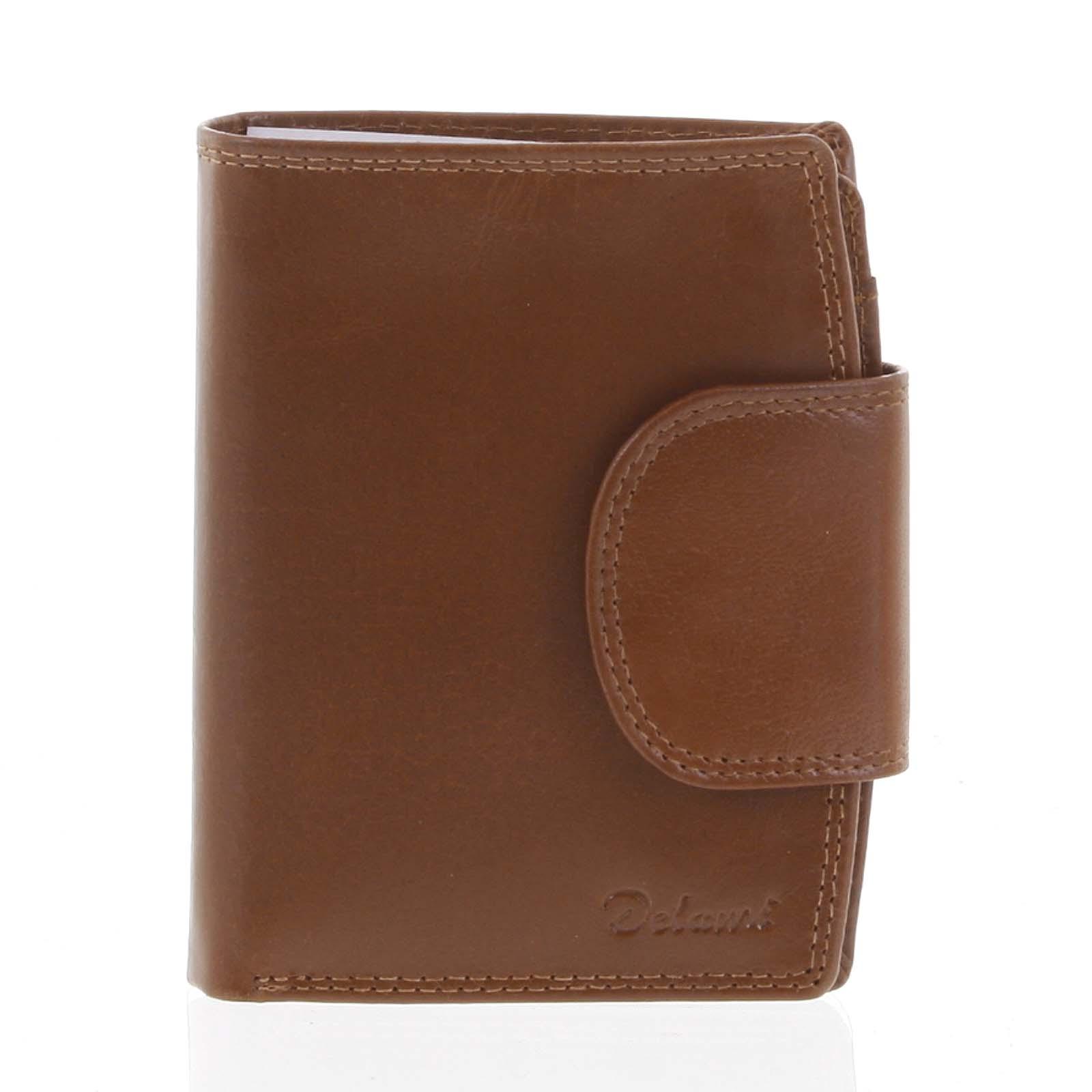 Kožená elegantná svetlohnedá peňaženka pre mužov - Delami 1342CHA