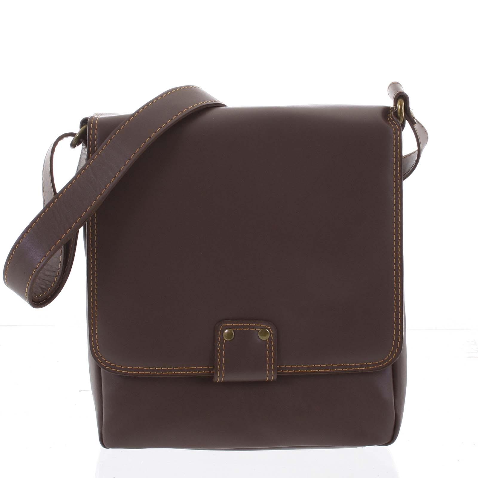 Luxusná kožená taška cez plece orieškovo hnedá - ItalY Tristen