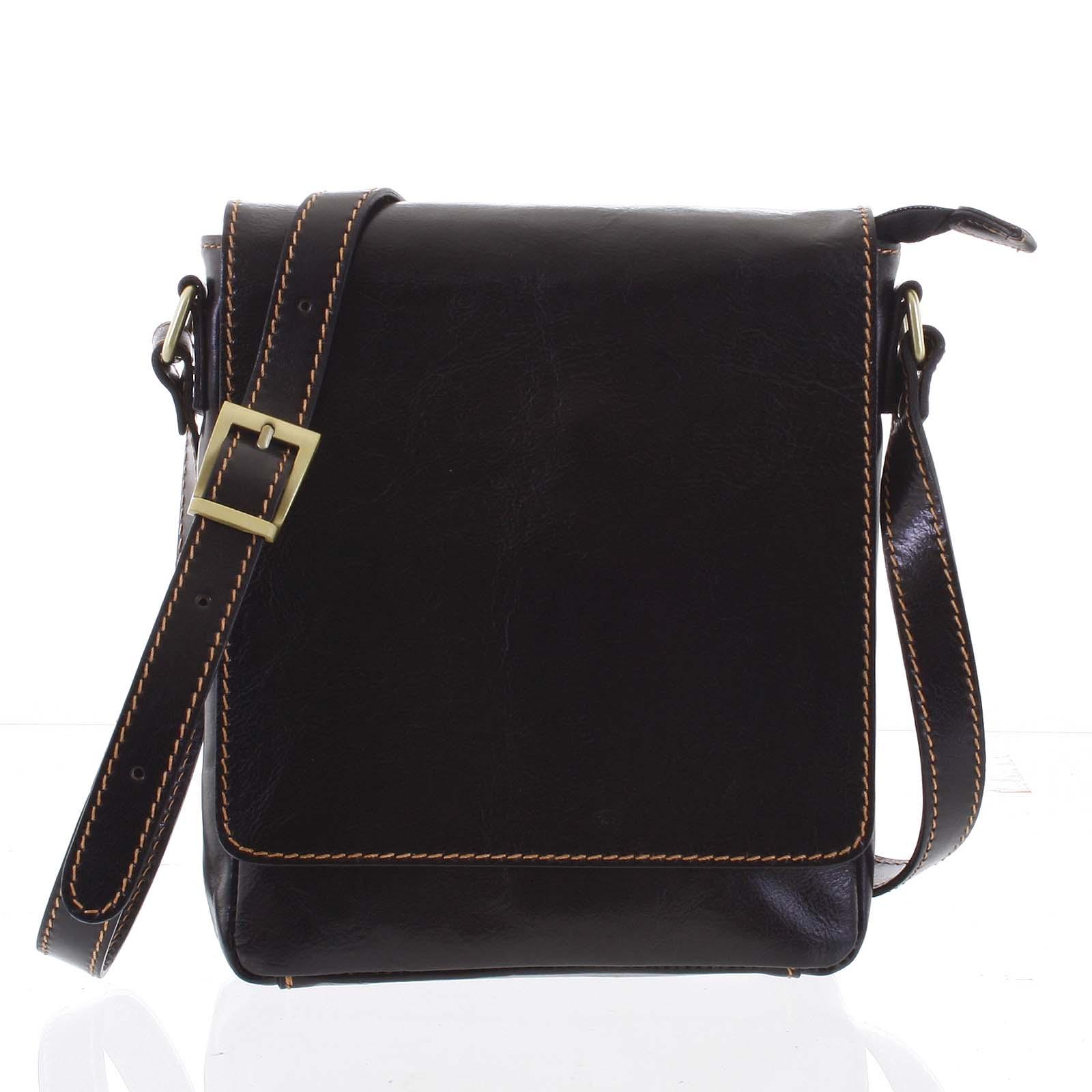 Kvalitná tmavohnedá kožená taška cez rameno - ItalY Samqaro