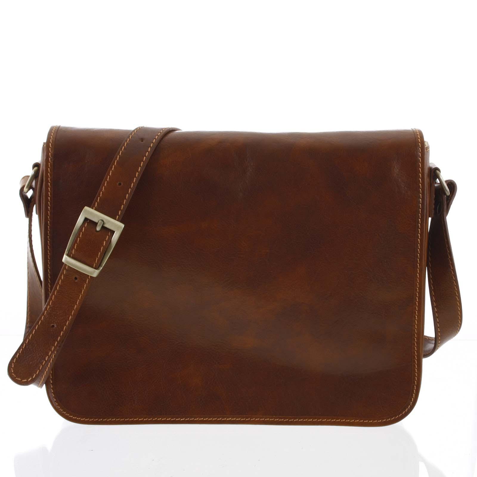 Väčšia pracovná kožená taška antukovohnedá - ItalY Equado Achilles