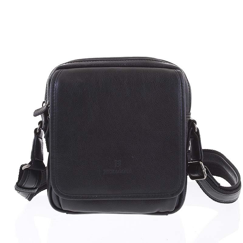 Luxusná čierna kožená taška cez plece Hexagona 129898