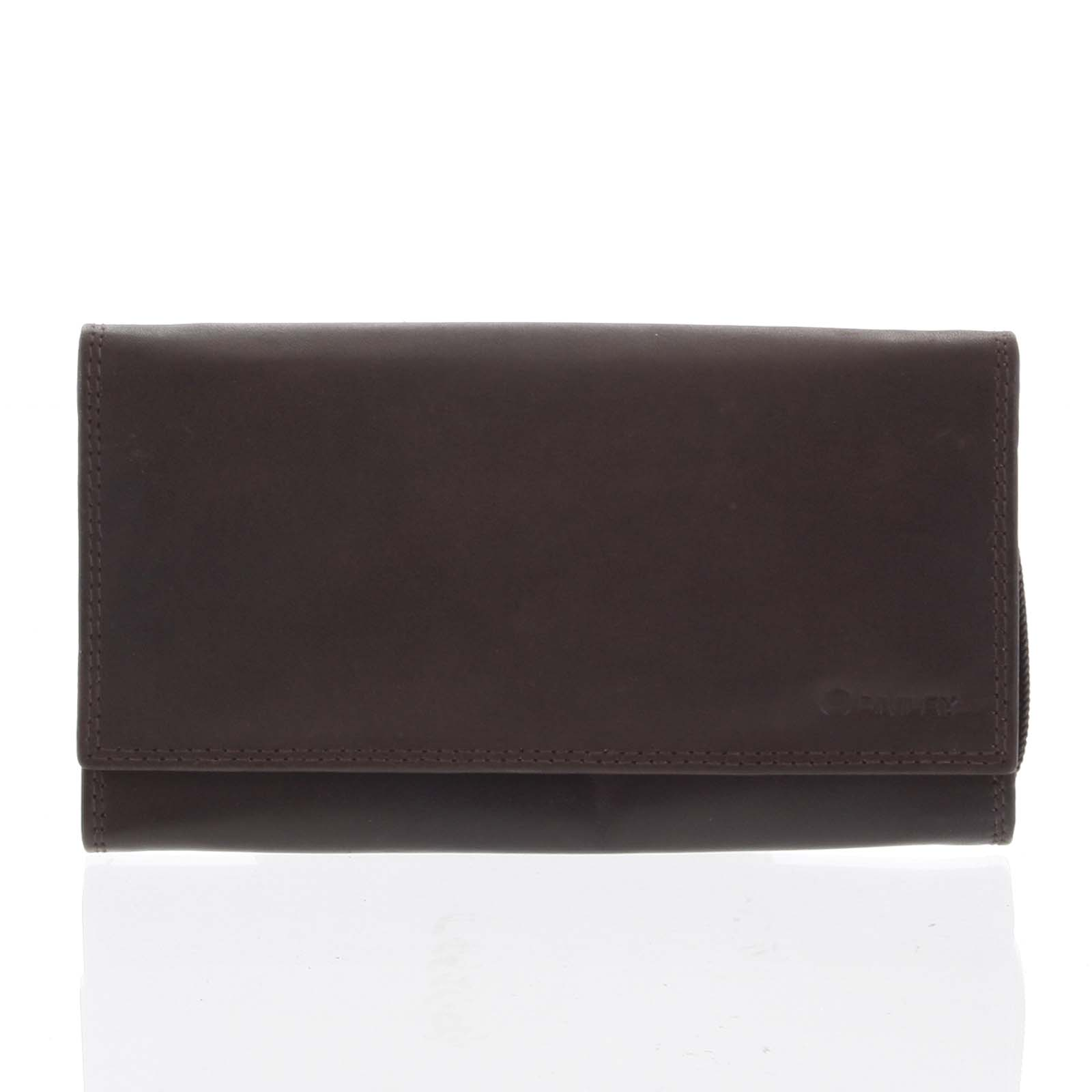 Dámska klasická tmavohnedá kožená peňaženka - Diviley Svemir