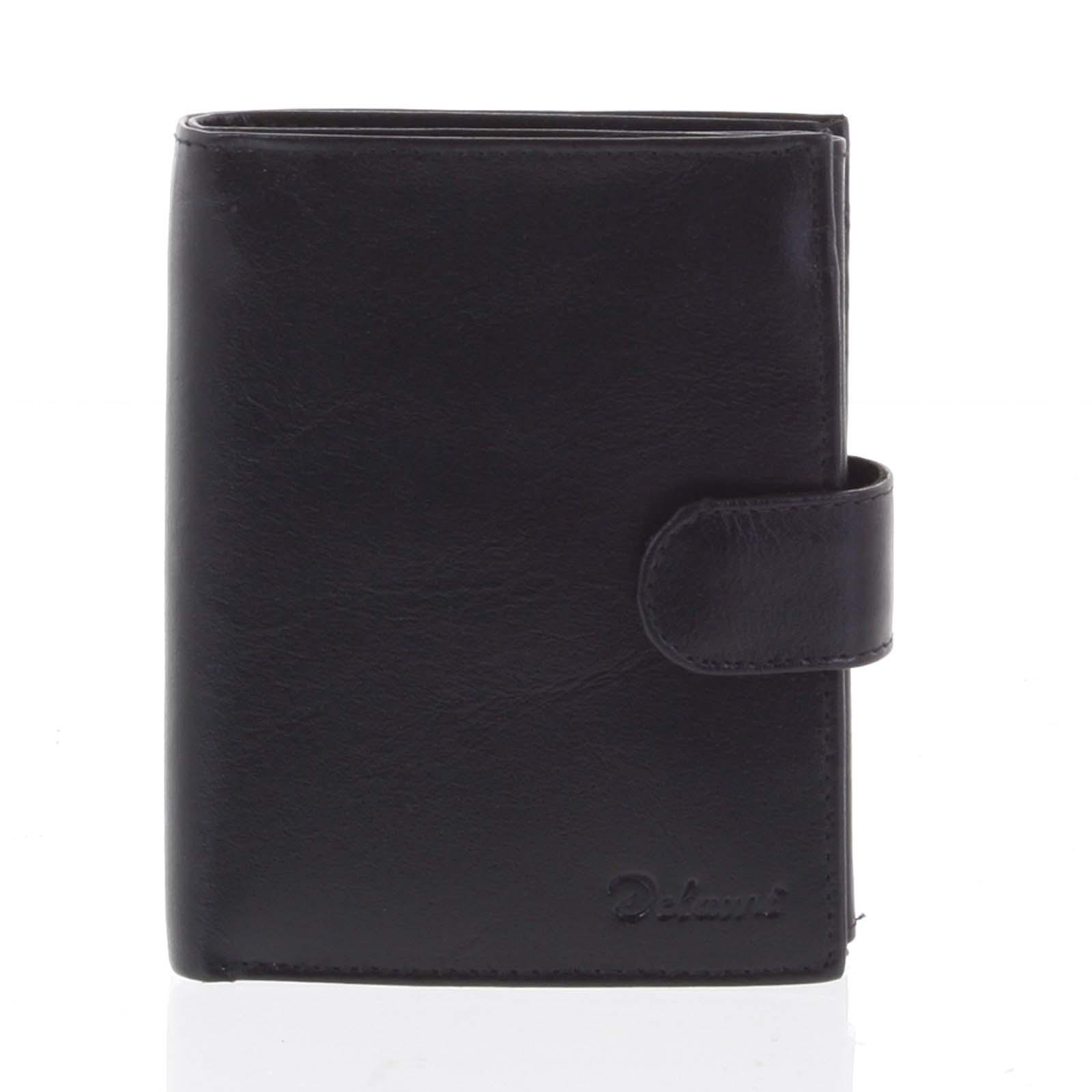 Pánska kožená čierna peňaženka so zápinkou - Delami Lunivers