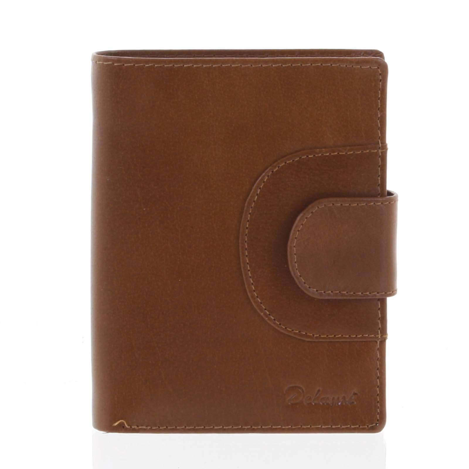 Elegantná pánska kožená hnedá peňaženka - Delami Norm