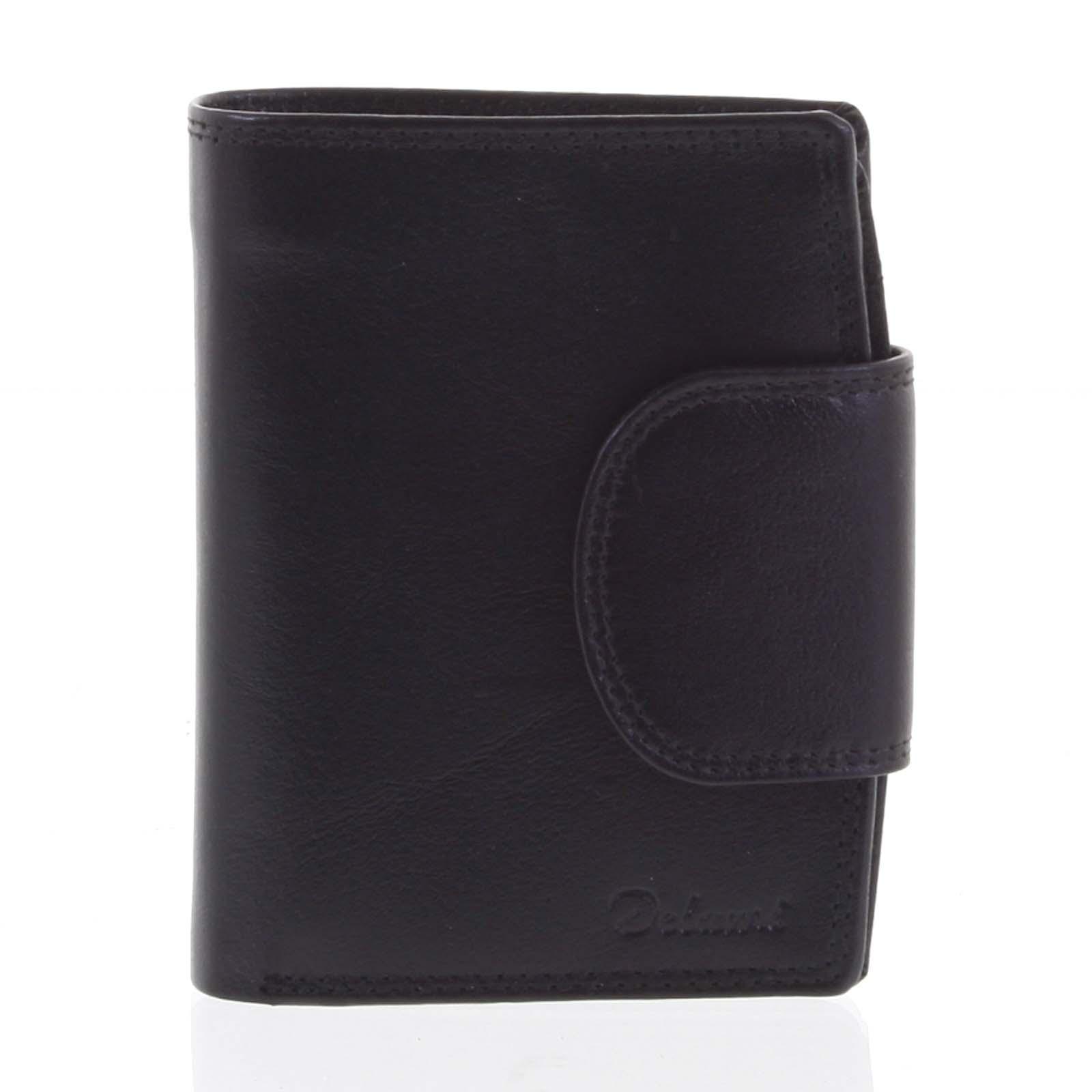 Kožená elegantná čierna peňaženka pre mužov - Delami 1342CHA