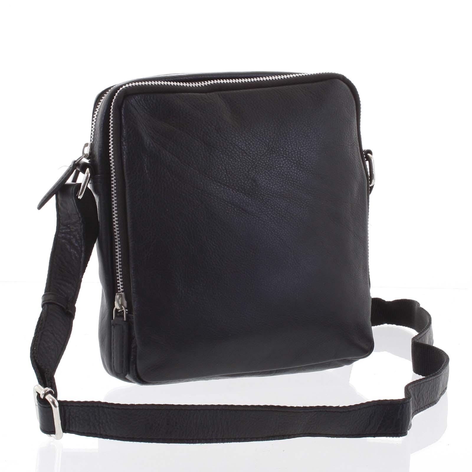 Ľahká praktická kožená čierna crossbody taška - Tomas Linive