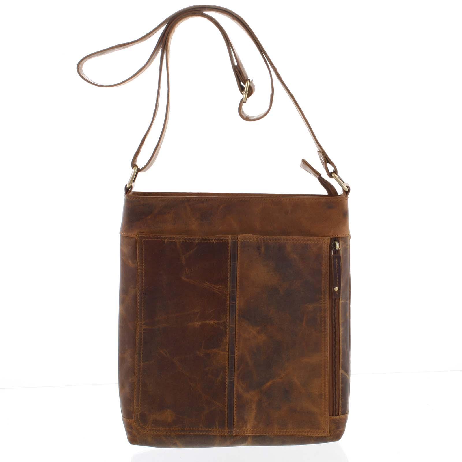 Prírodná hnedá pánska stredne veľká kožená taška - Tomas Duniy