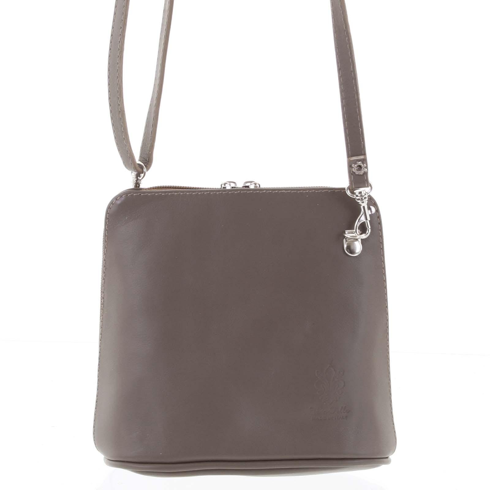 Dámska kožená crossbody kabelka sivo-hnedá - ItalY 10053