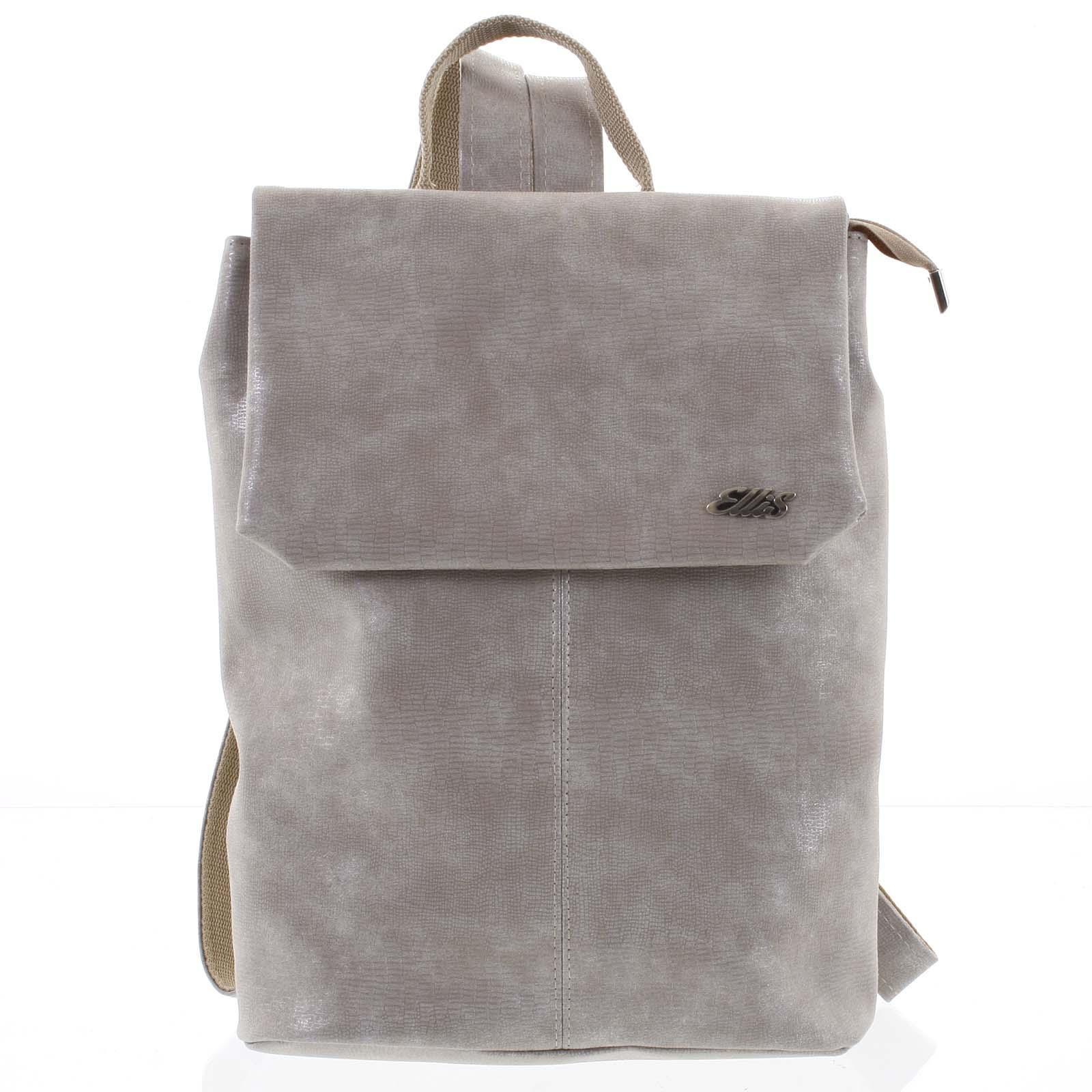 Väčší mäkký dámsky moderný béžový ruksak - Ellis Elizabeth