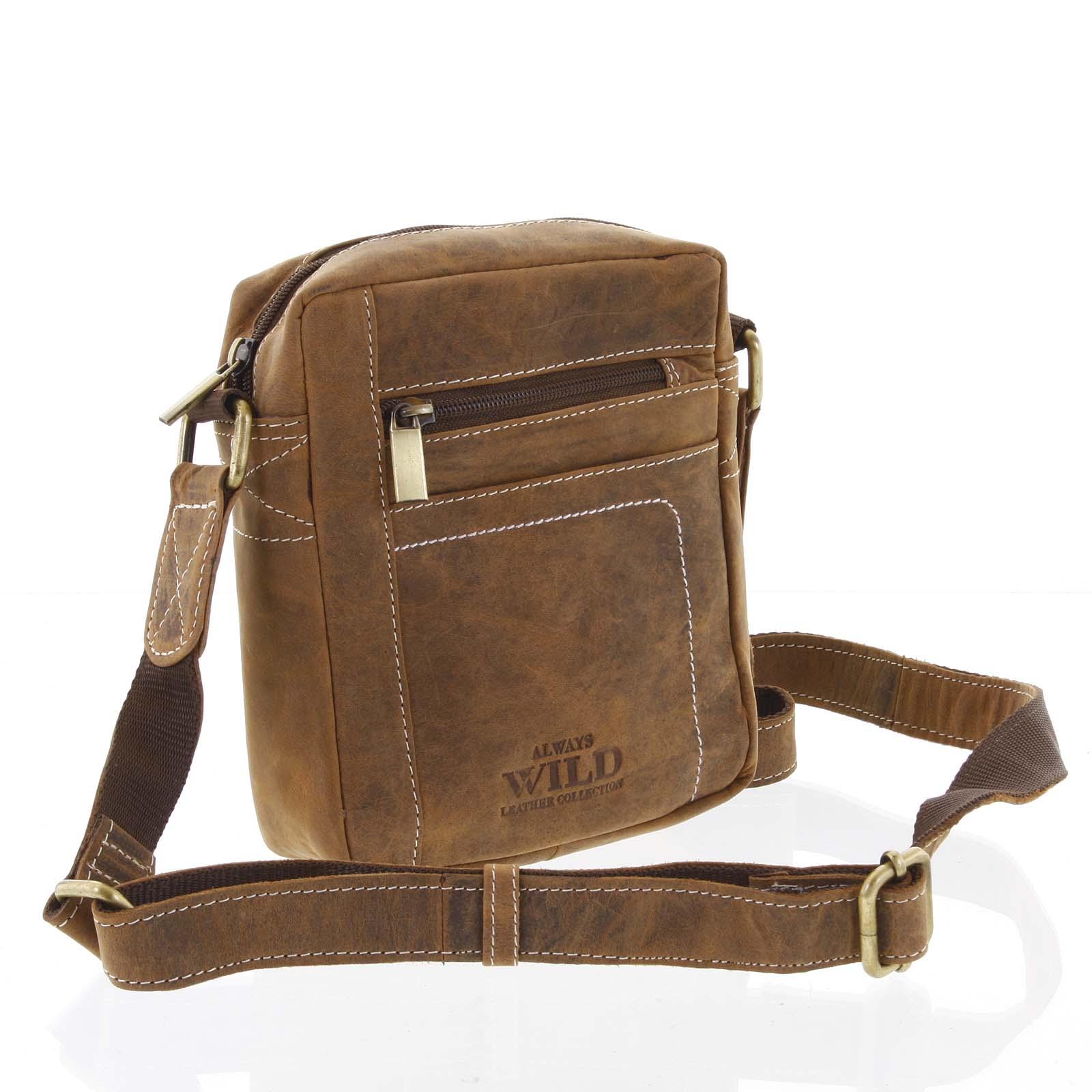 Pánska kožená taška cez plece svetlohnedá - WILD Mason