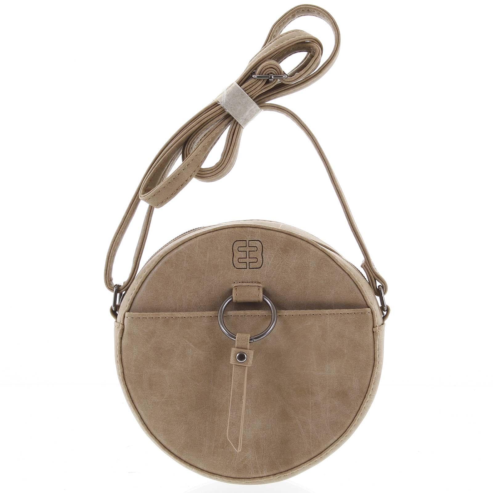 Guľatá moderná dámska crossbody kabelka taupe - Enrico Benetti Behesha