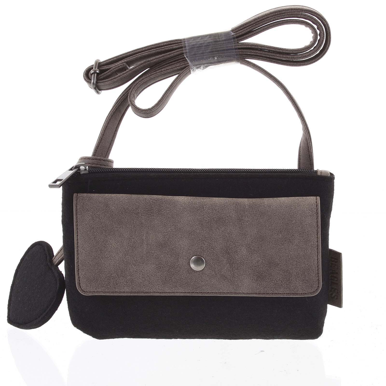 Filcová crossbody kabelka čierna - Beagles Laser