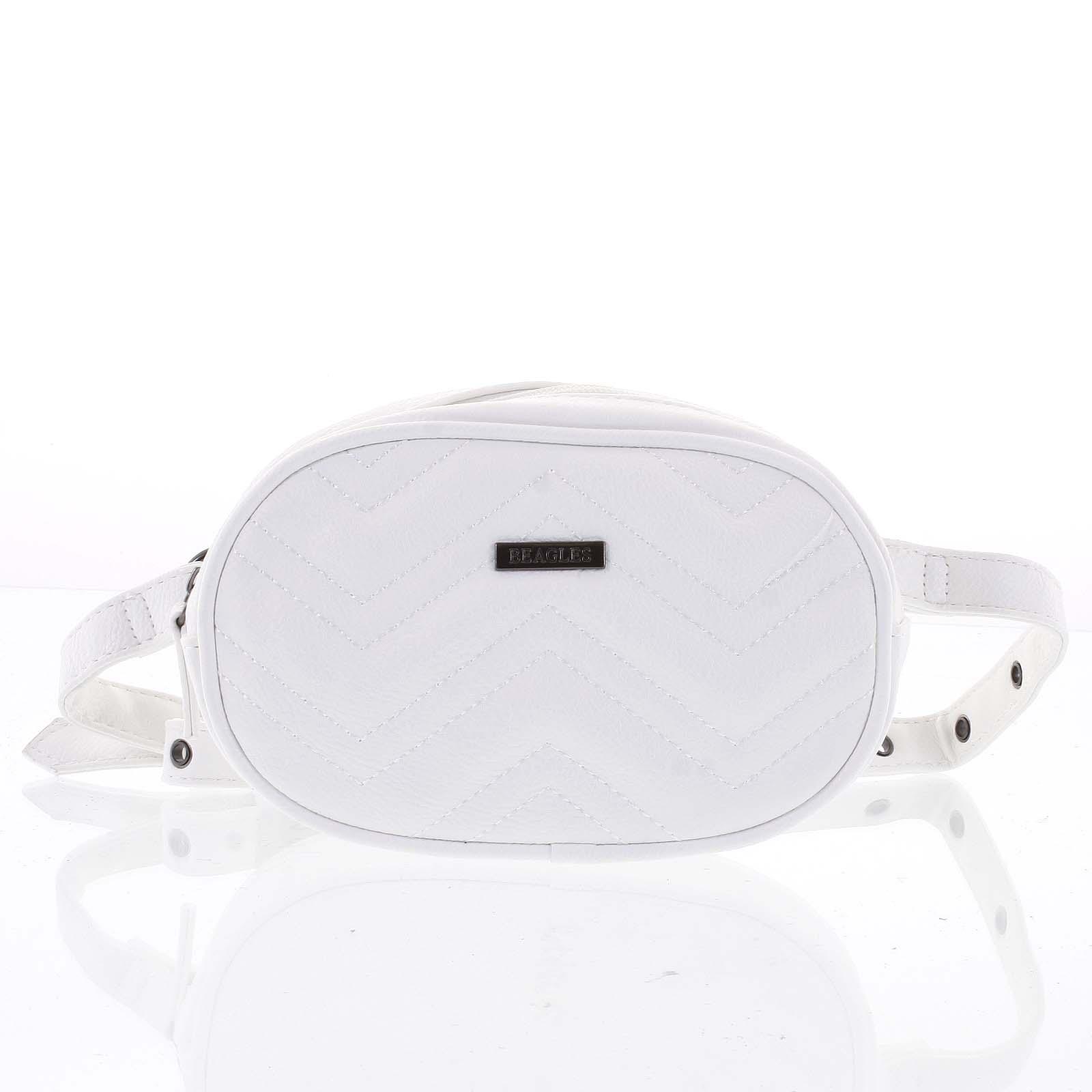 Malá dámska crossbody kabelka / ľadvinka biela - Beagles Tima