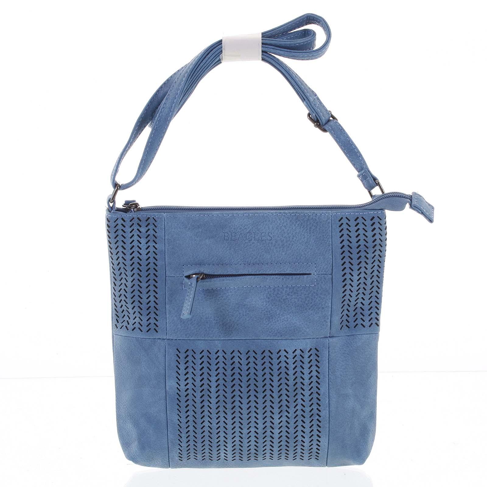 Malá elegantná perforovaná crossbody kabelka modrá - Beagles Soraya