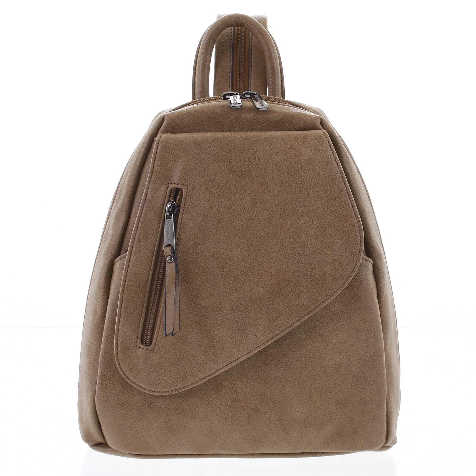 Módny dámsky orieškovo hnedý ruksak - Hexagona Pasha
