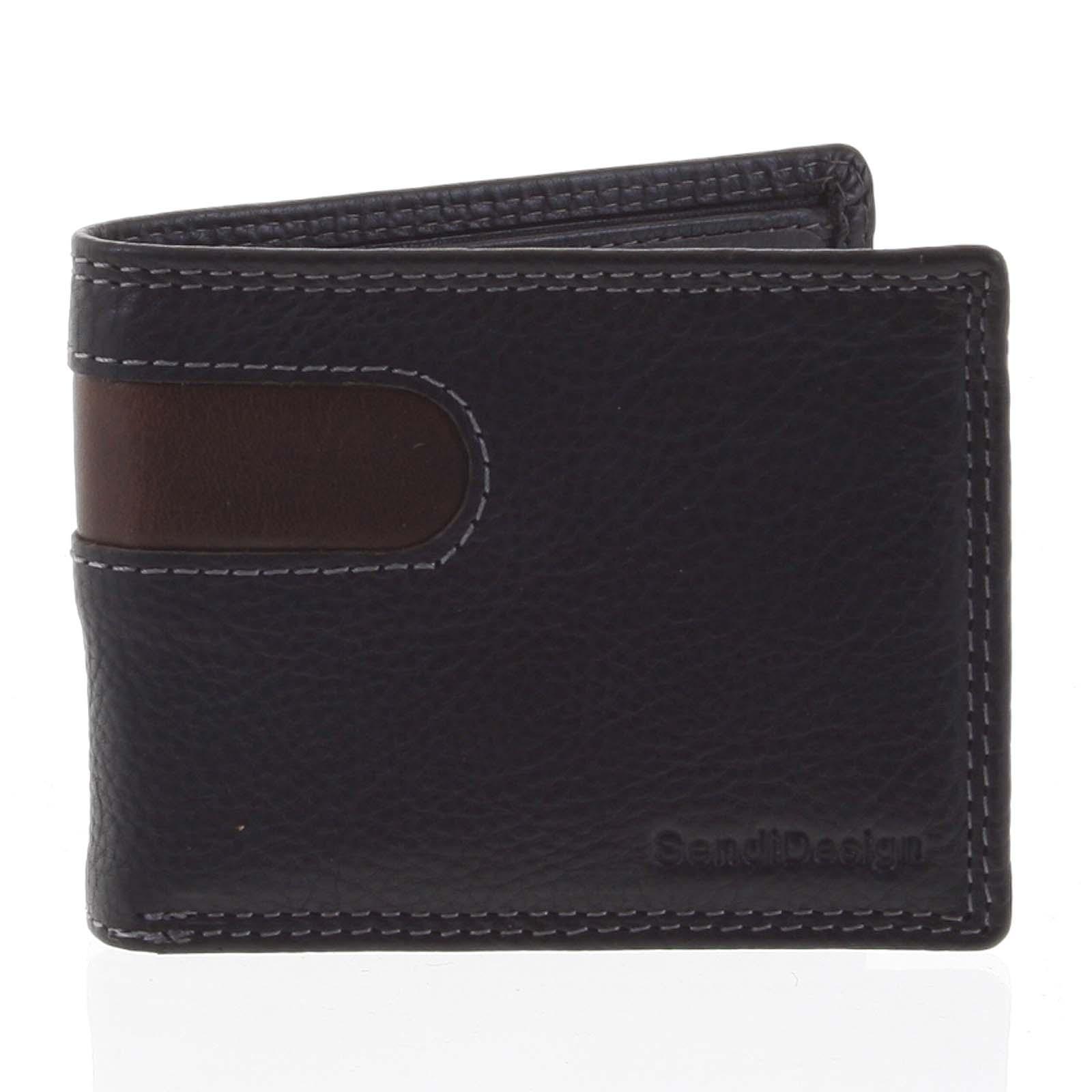 Pánska kožená peňaženka na karty čierna - SendiDesign Sinai