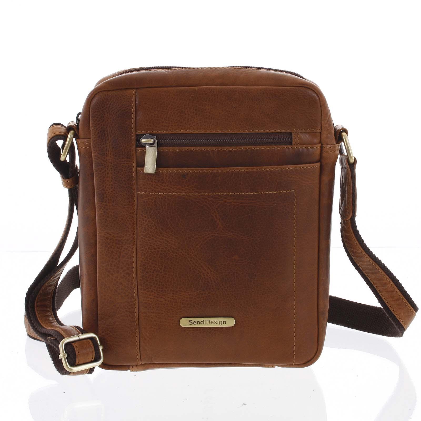 Perfektná pánska svetlohnedá kožená taška - Sendi Design Halir