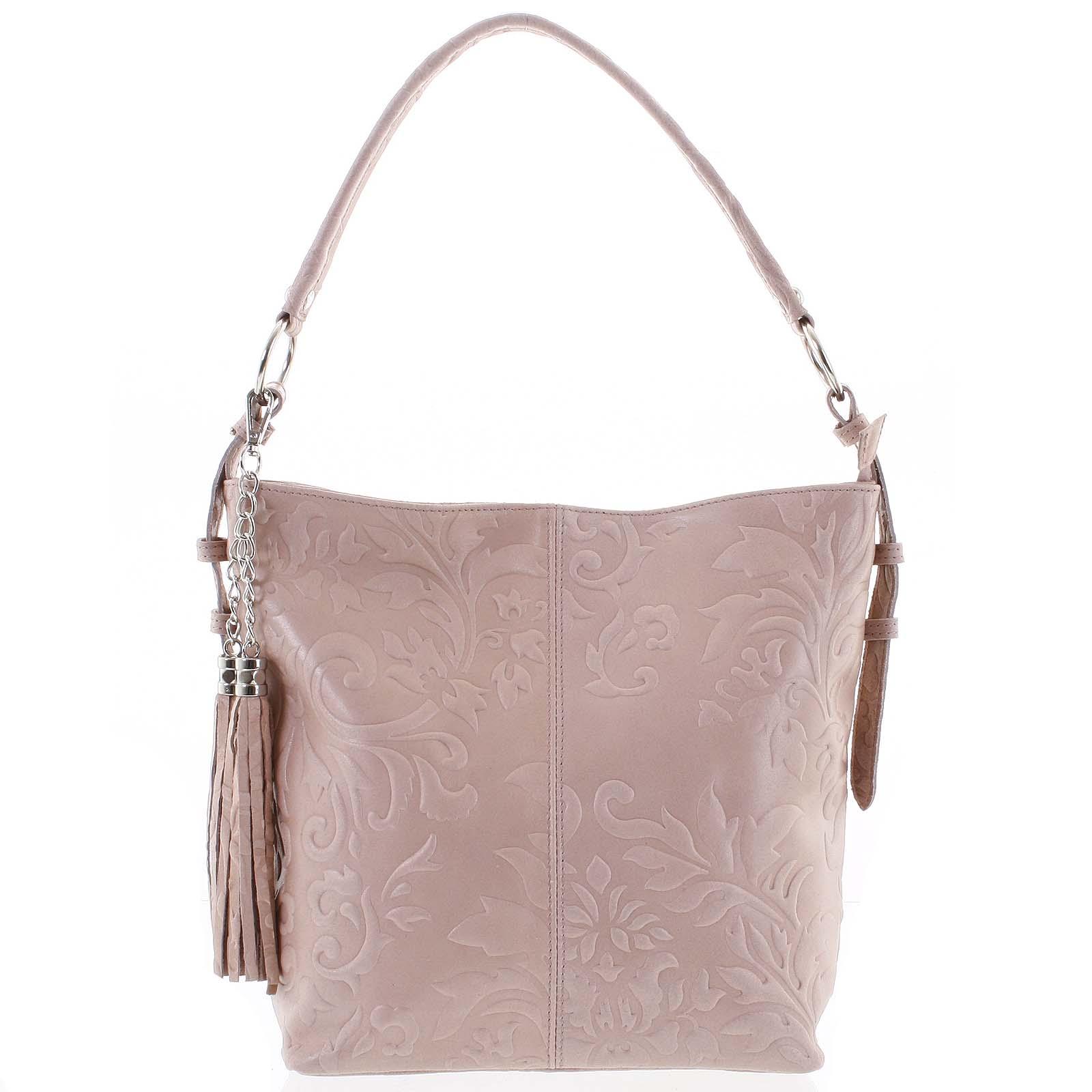 Dámska kožená kabelka cez plece ružová - ItalY Heather
