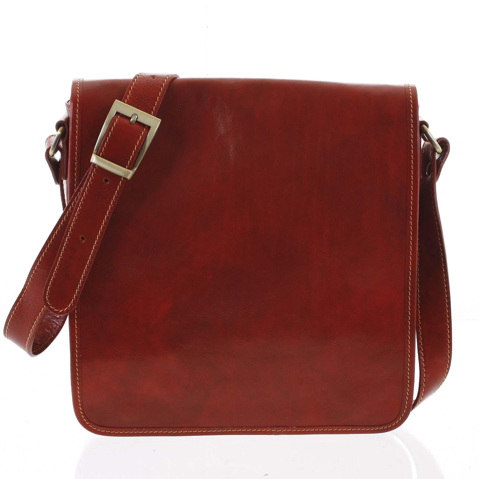 Pánska luxusná kožená taška cez plece červená - ItalY Jamar